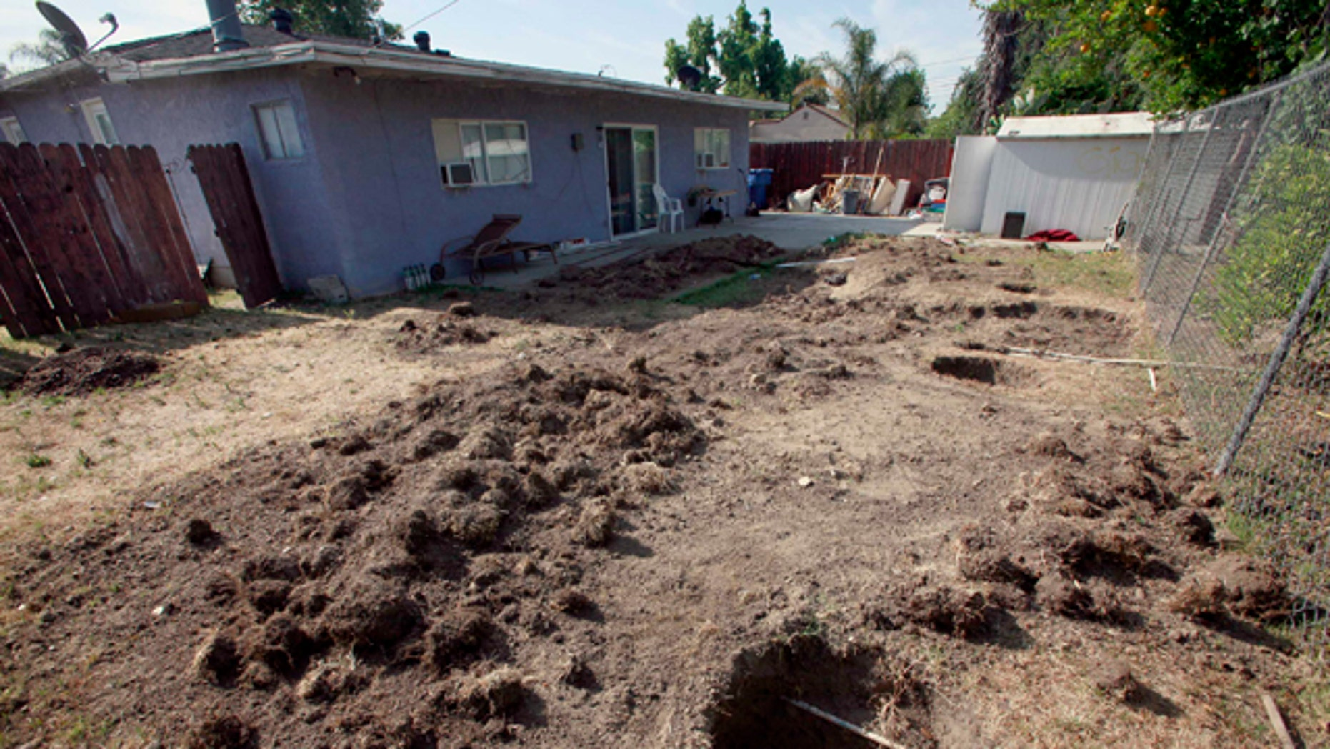 May 31: Photo showing the dug up backyard of a house in Ontario, Calif. Police arrested 51-year-old Carmen Montenegro Sunday night in an Ontario neighborhood where Investigators spent Monday excavating the property outside the home where the body is believed to have come from.
