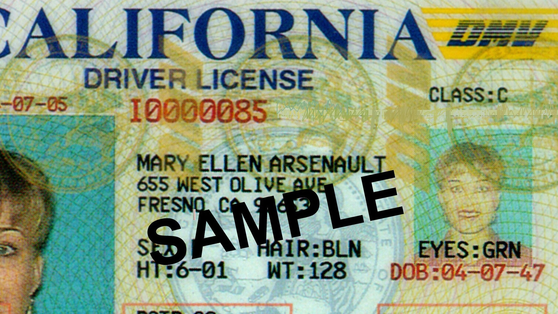 391501 01: This undated photo shows a redesign of California''s State drivers license for the prevention of theft identity and reproduction. The printing technology that is used is similar to the new US currency, which alsoprevents people from photocoping and scanning. (Courtesy of Polaroid/Getty Images)