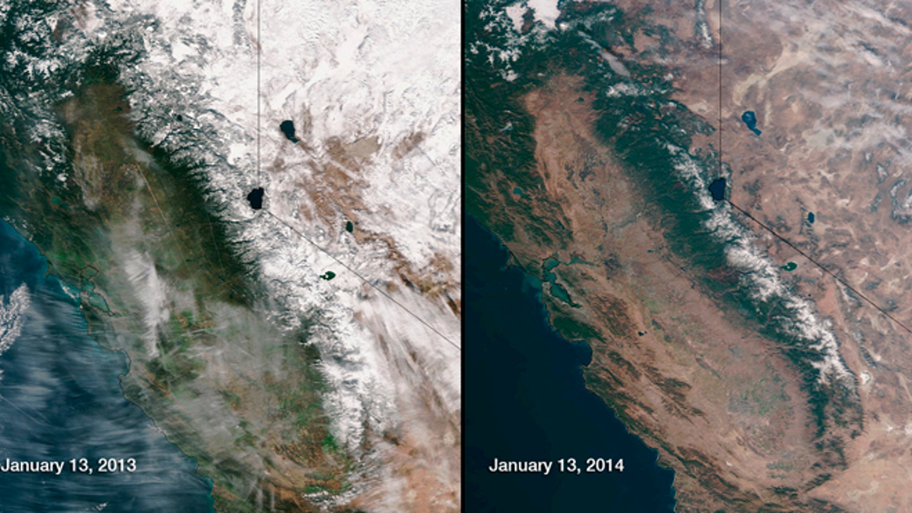 Snow cover in the Sierra Nevada mountain range in California in January 2013 and January 2014 is compared in this combination of NASA satellite handout photos. California Gov. Jerry Brown declared a drought emergency January 17, 2014, a move that will allow the parched state to seek federal aid as it grapples with what could turn out to be the driest year in recorded state history.