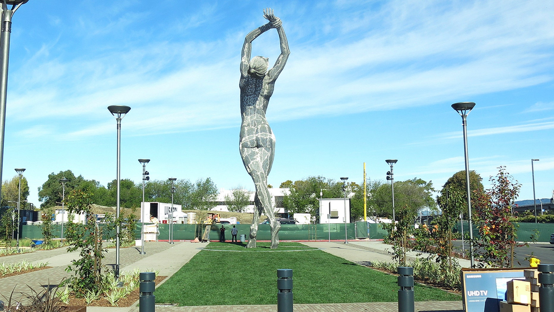 In this photo taken Wednesday Oct. 19, 2016, a 55-foot nude statue stands in San Leandro, Calif.