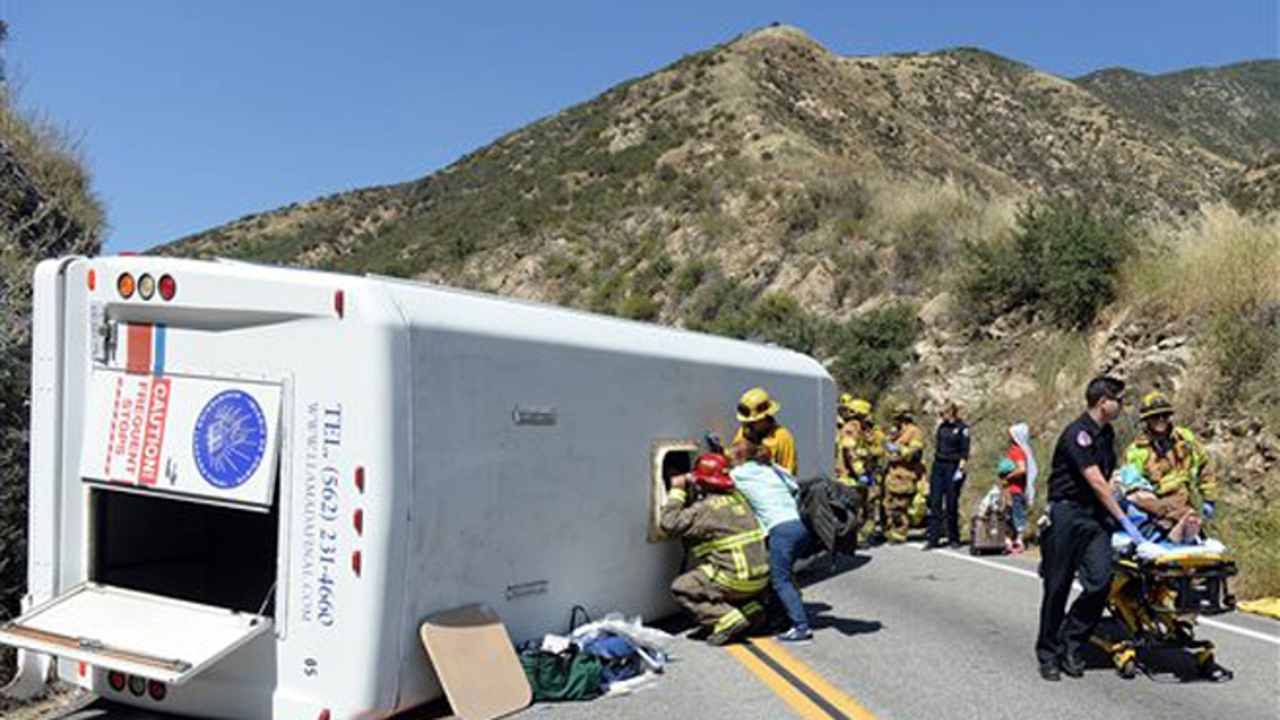 Approximately 20 people were injured, 4 with major injuries, after a small tour bus crashed and rolled over on highway 330 approximately 2 miles north of the 210 freeway Sunday, May 22, 2016