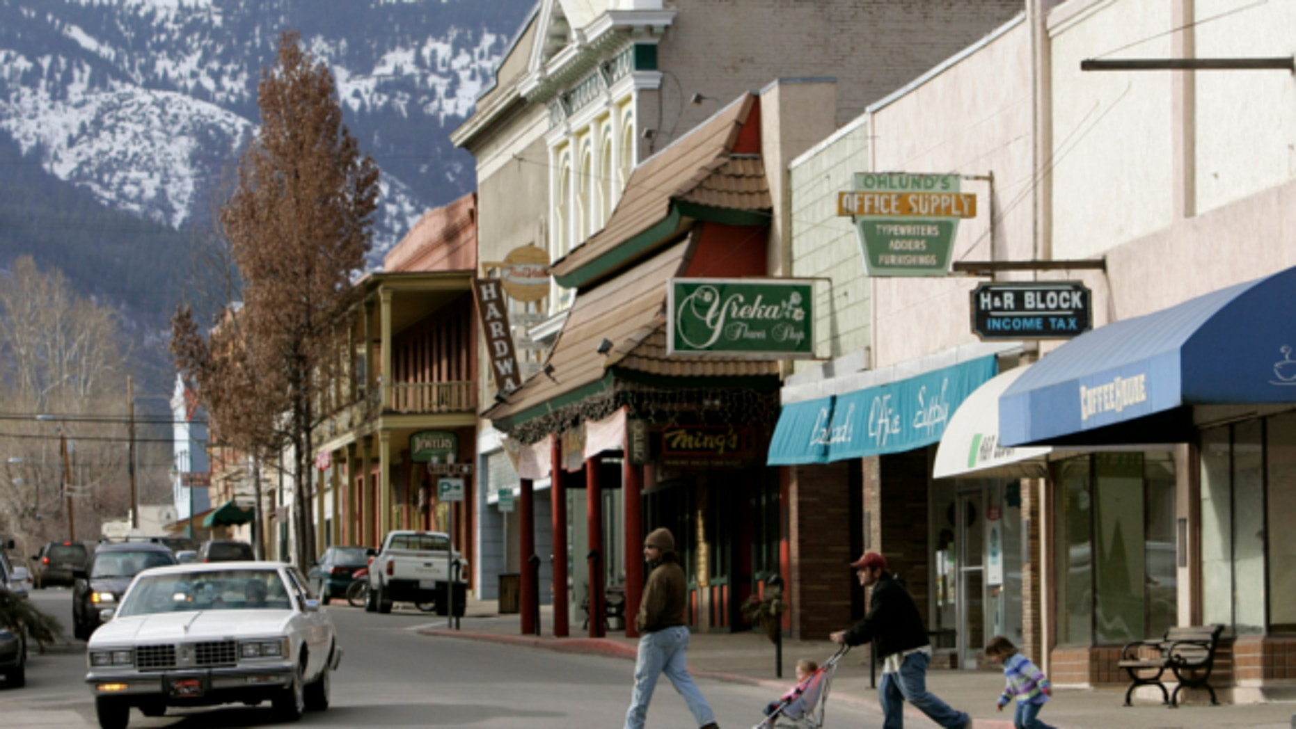FILE: Feb. 20, 2008: Pedestrians cross Miner Street in Yreka, Calif., Feb. 20, 2008.