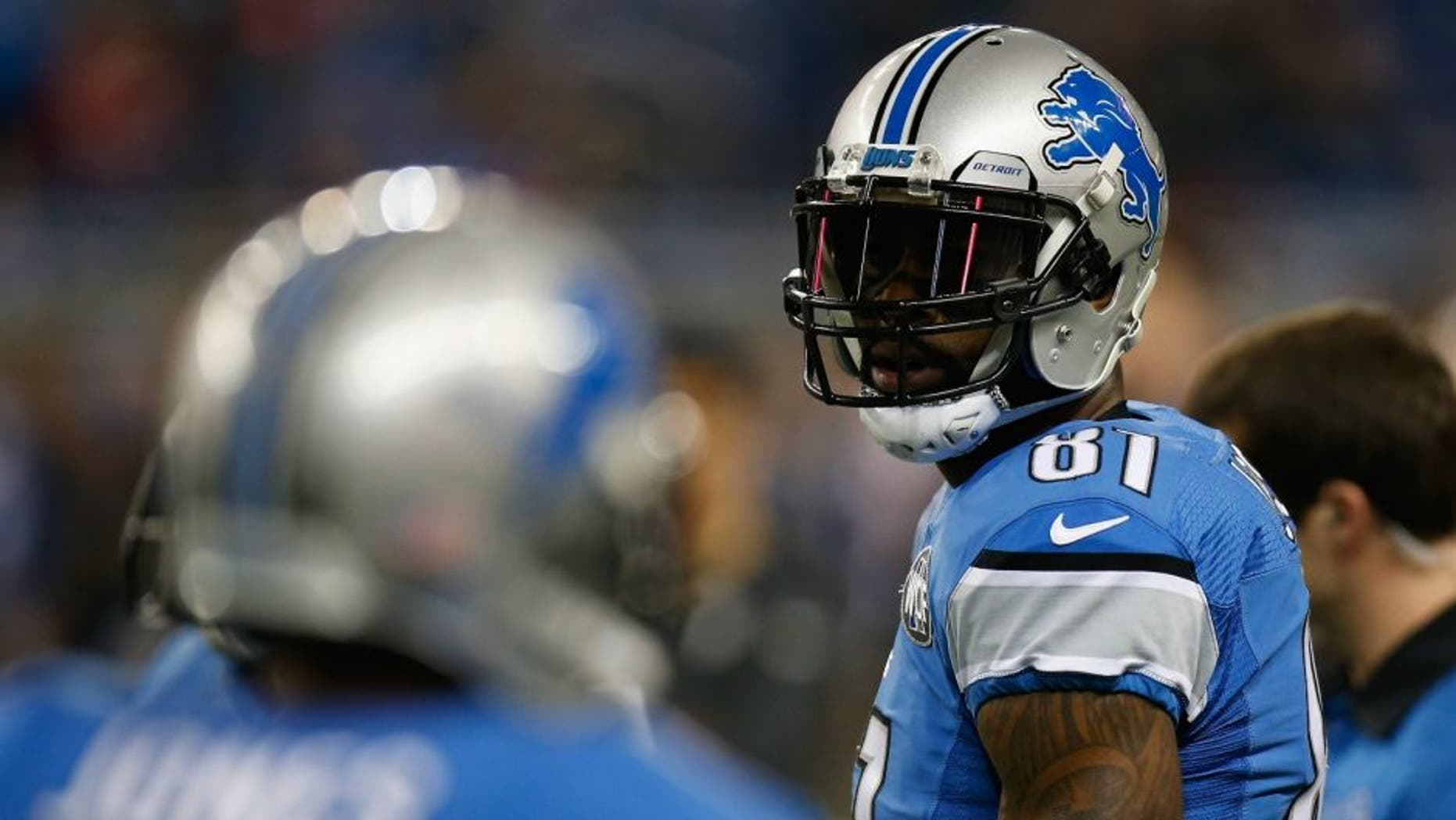 DETROIT, MI - DECEMBER 27: Calvin Johnson #81 of the Detroit Lions looks on prior to playing the San Francisco 49ers at Ford Field on December 27, 2015 in Detroit, Michigan. (Photo by Gregory Shamus/Getty Images)