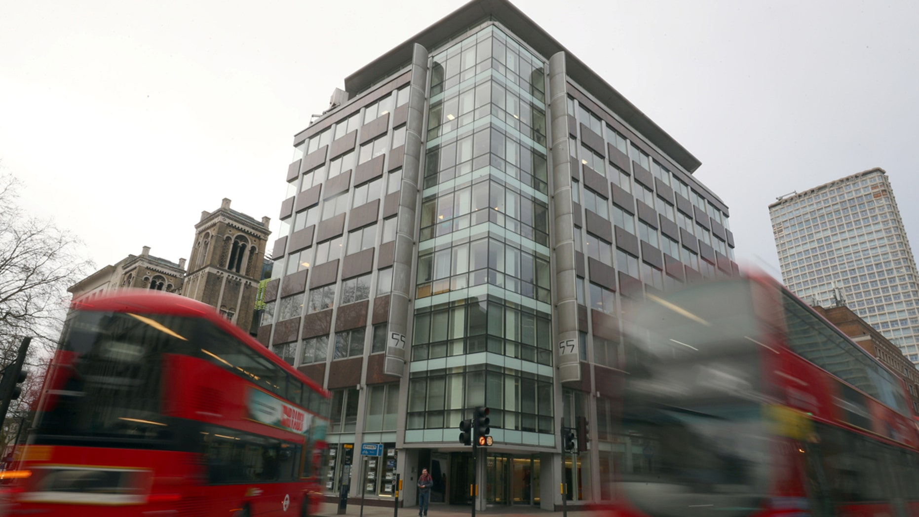 The office of Cambridge Analytica, which is embroiled in a scandal involving the data of 50 million Facebook users, is seen in London.