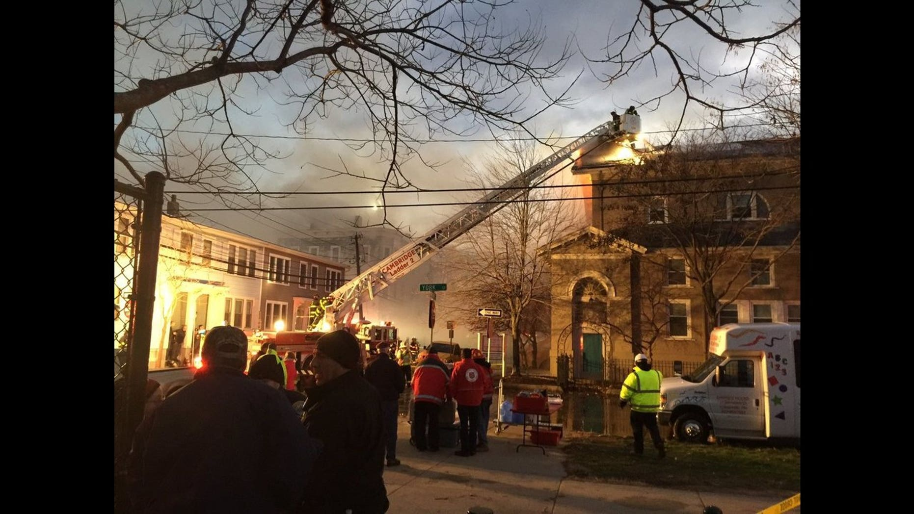 A 10-alarm fire was raging Saturday afternoon in Cambridge, MA.