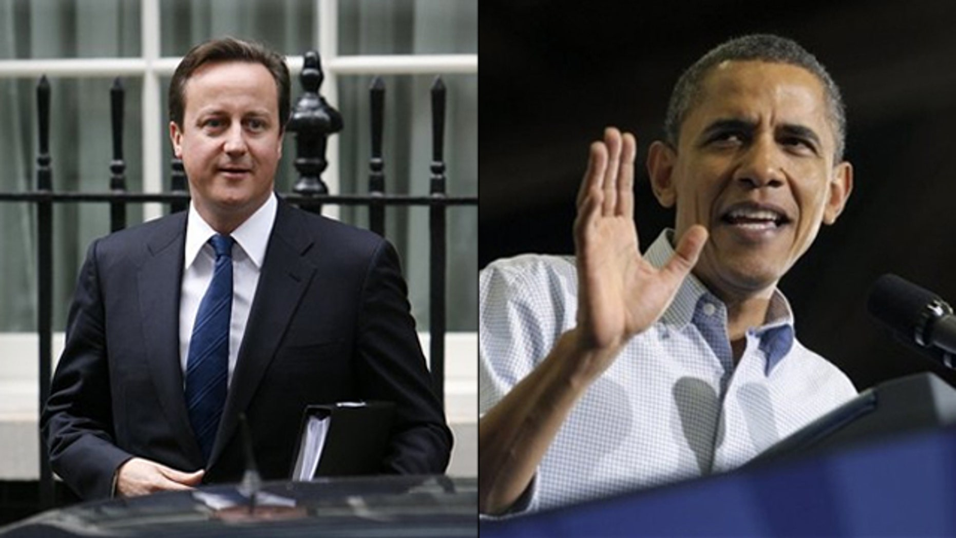 Shown here are British Prime Minister David Cameron, left, and President Obama. (AP Photos)