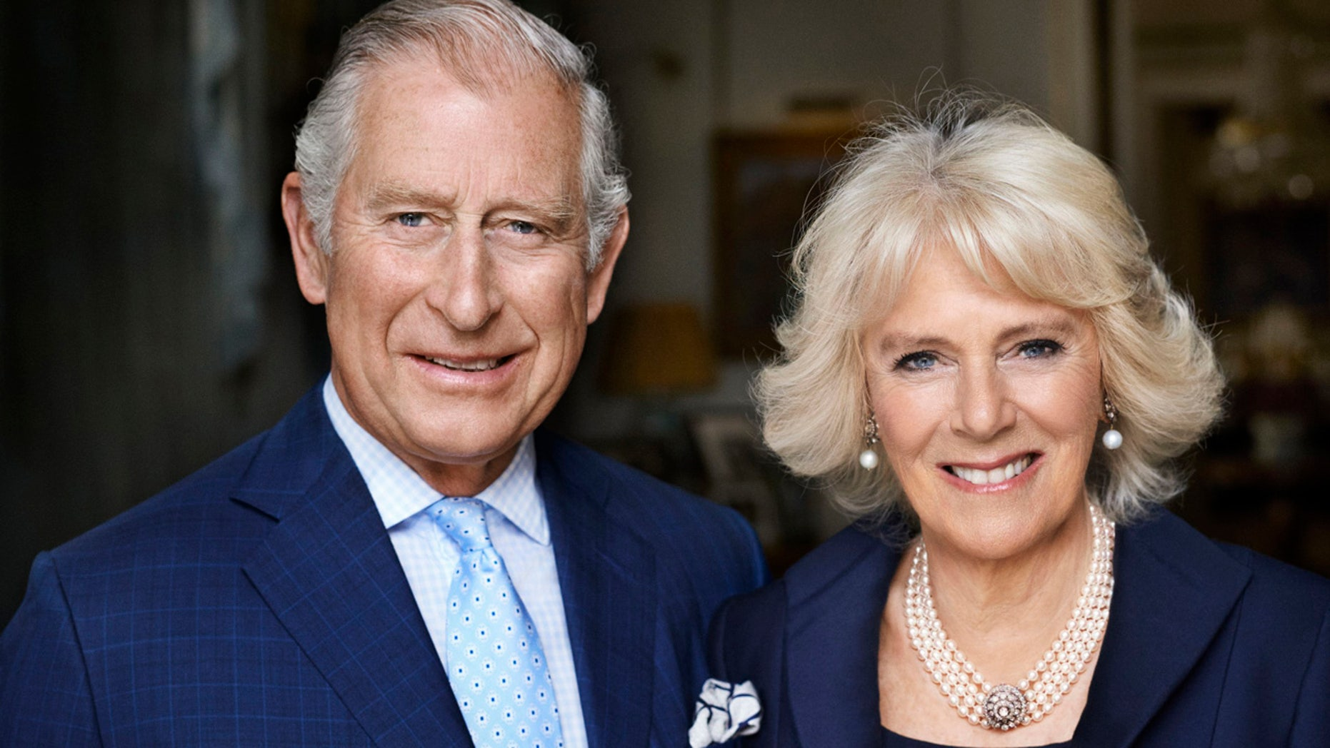 Britain's Prince Charles and his wife Camilla, Duchess of Cornwall in Clarence House, London.