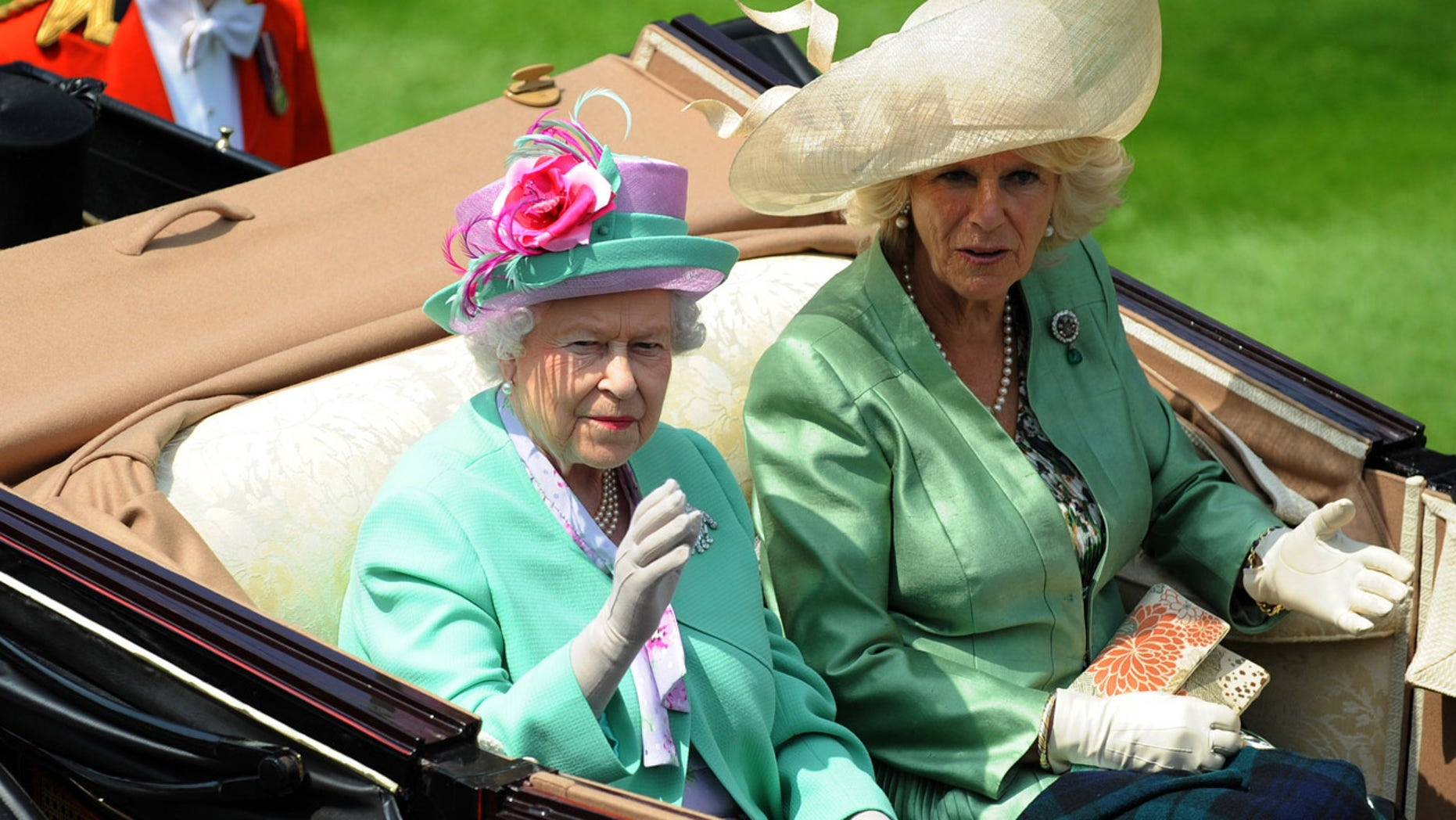 Right to left: Camilla, Duchess of Cornwall, with her mother-in-law, Queen Elizabeth II.