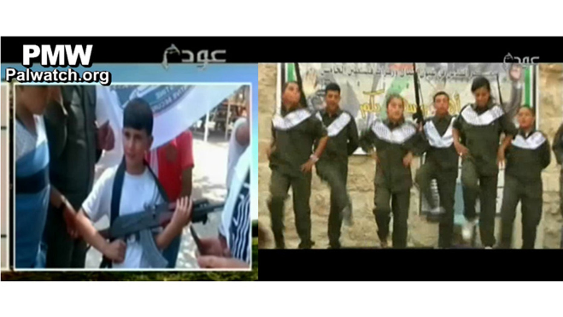 A child is seen holding an AK-47 and other children performed on stage in military uniforms holding rifles at a Palestinian Authority summer camp in videos discovered by Palestinian Media Watch. (PalWatch.org)