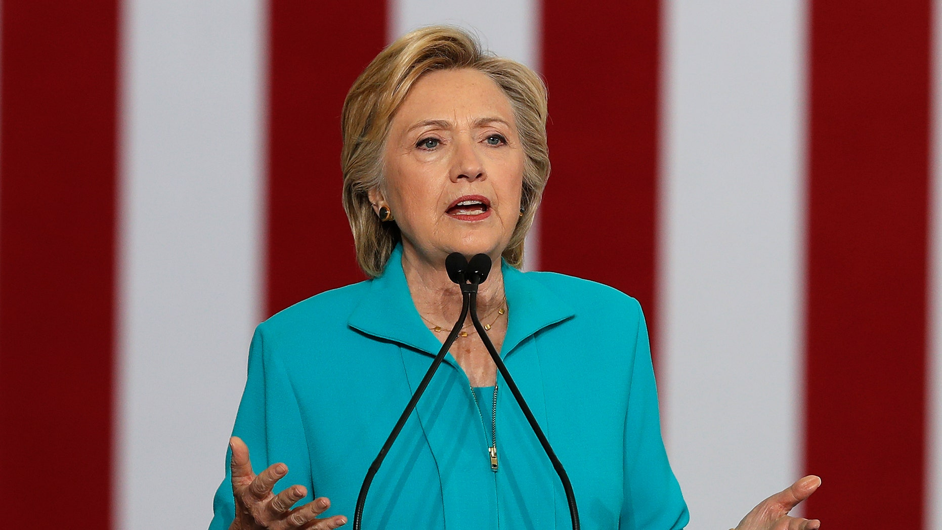 FILE - In this Thursday, Aug. 25, 2016 file photo, Democratic presidential candidate Hillary Clinton speaks at a campaign event at Truckee Meadows Community College in Reno, Nev.