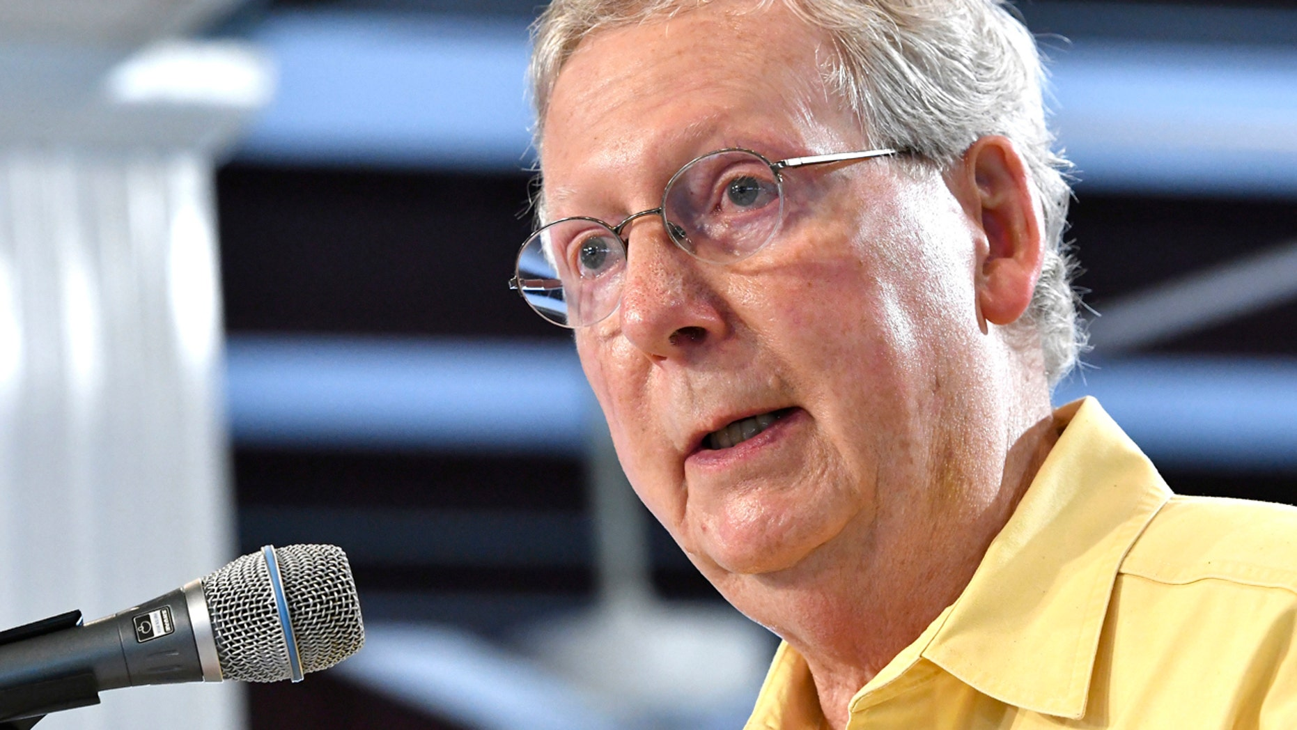 FILE - In this Aug. 6, 2016, file photo, Majority Leader Mitch McConnell of Kentucky, addresses the crowd gathered at the Fancy Farm Picnic in Fancy Farm Ky.