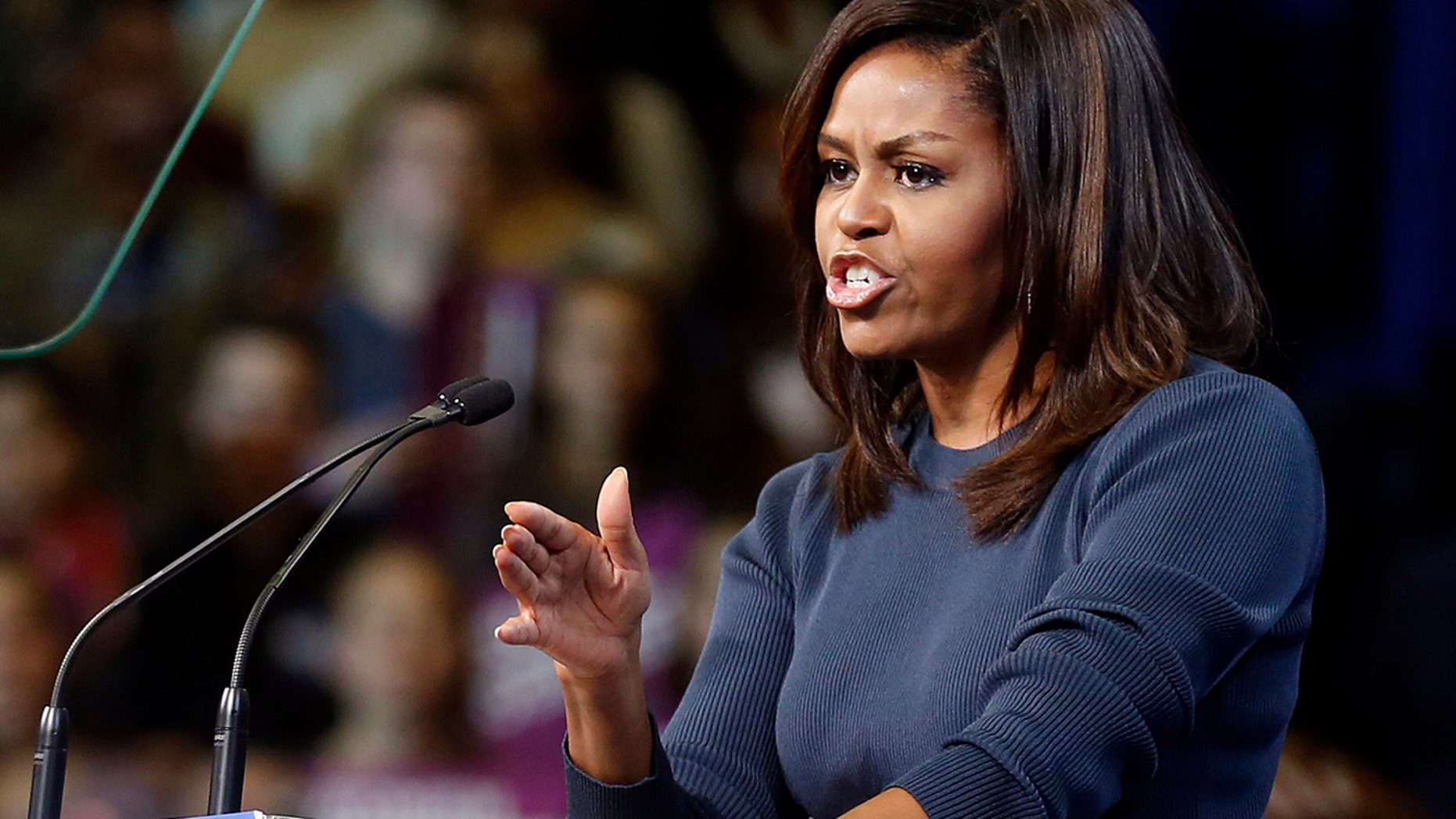 Oct. 13, 2016: First lady Michelle Obama speaks during a campaign rally for Democratic presidential candidate Hillary Clinton in Manchester, N.H.