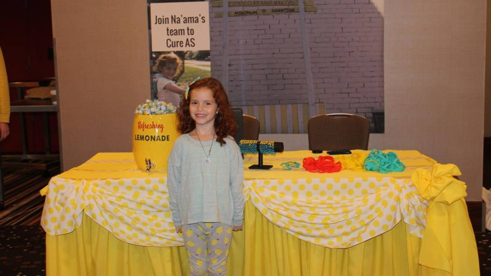 Na'ama Uzan, 6, started a lemonade stand outside her family's home in 2014 to raise funds to help research Angelman syndrome, which her brother suffers from.