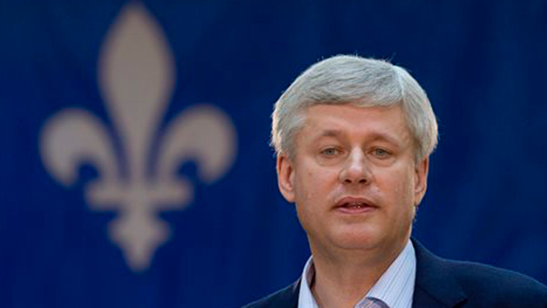 Sept.11, 2015: Conservative Leader Stephen Harper speaks to supporters during a campaign stop in Victoriaville, Quebec, Canada. On Saturday, Sept. 12, 2015, Harper's government announced that Canada will provide $100 million in additional humanitarian assistance for Syrian refugee camps.