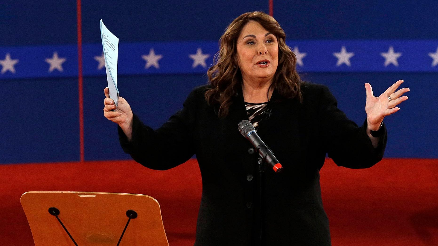 Oct. 16, 2012. Candy Crowley talks to the audience before the second presidential debate at Hofstra University, in Hempstead, N.Y.
