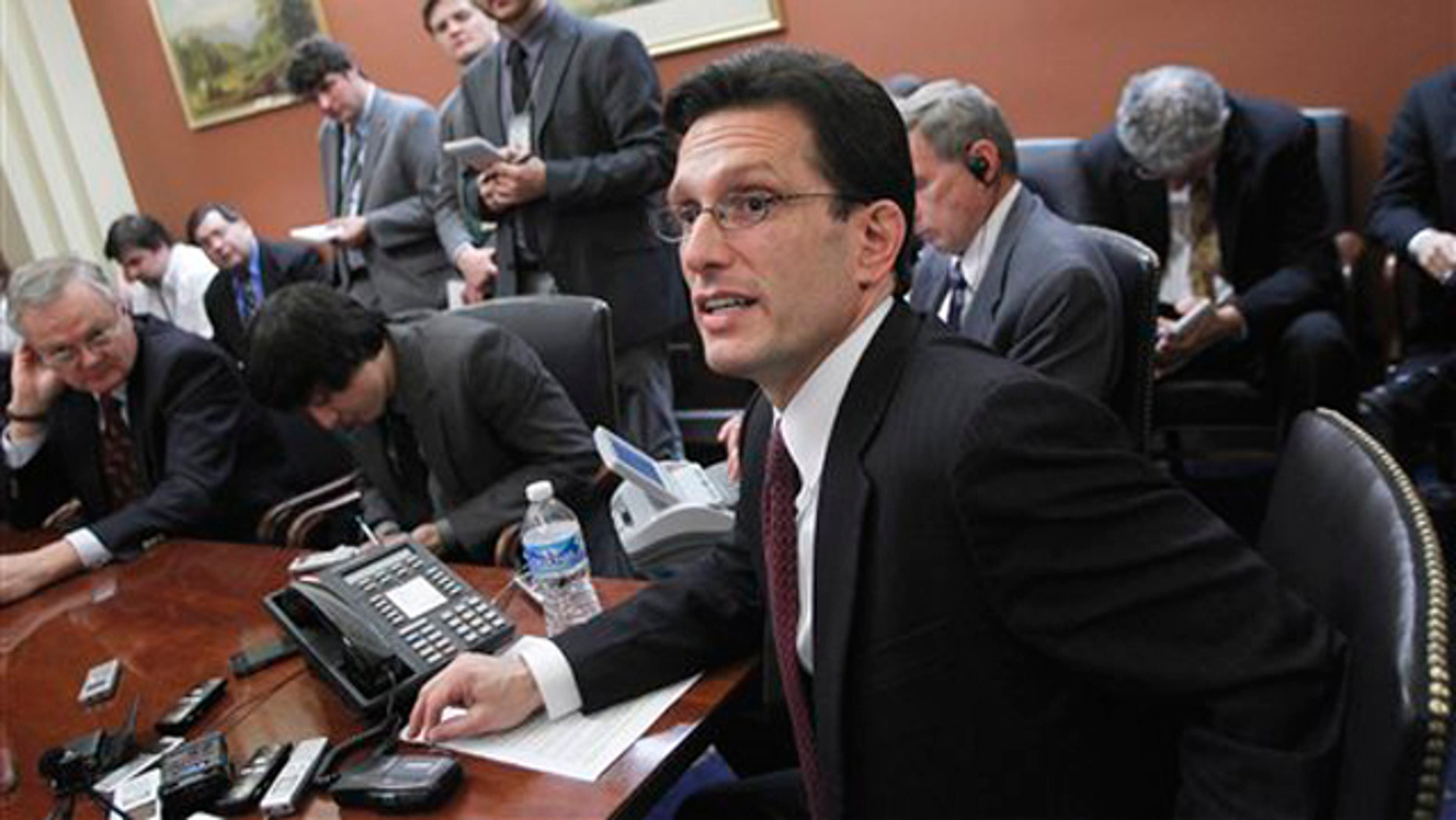 In this Feb. 28 file photo, House Majority Leader Eric Cantor speaks to reporters on Capitol Hill.