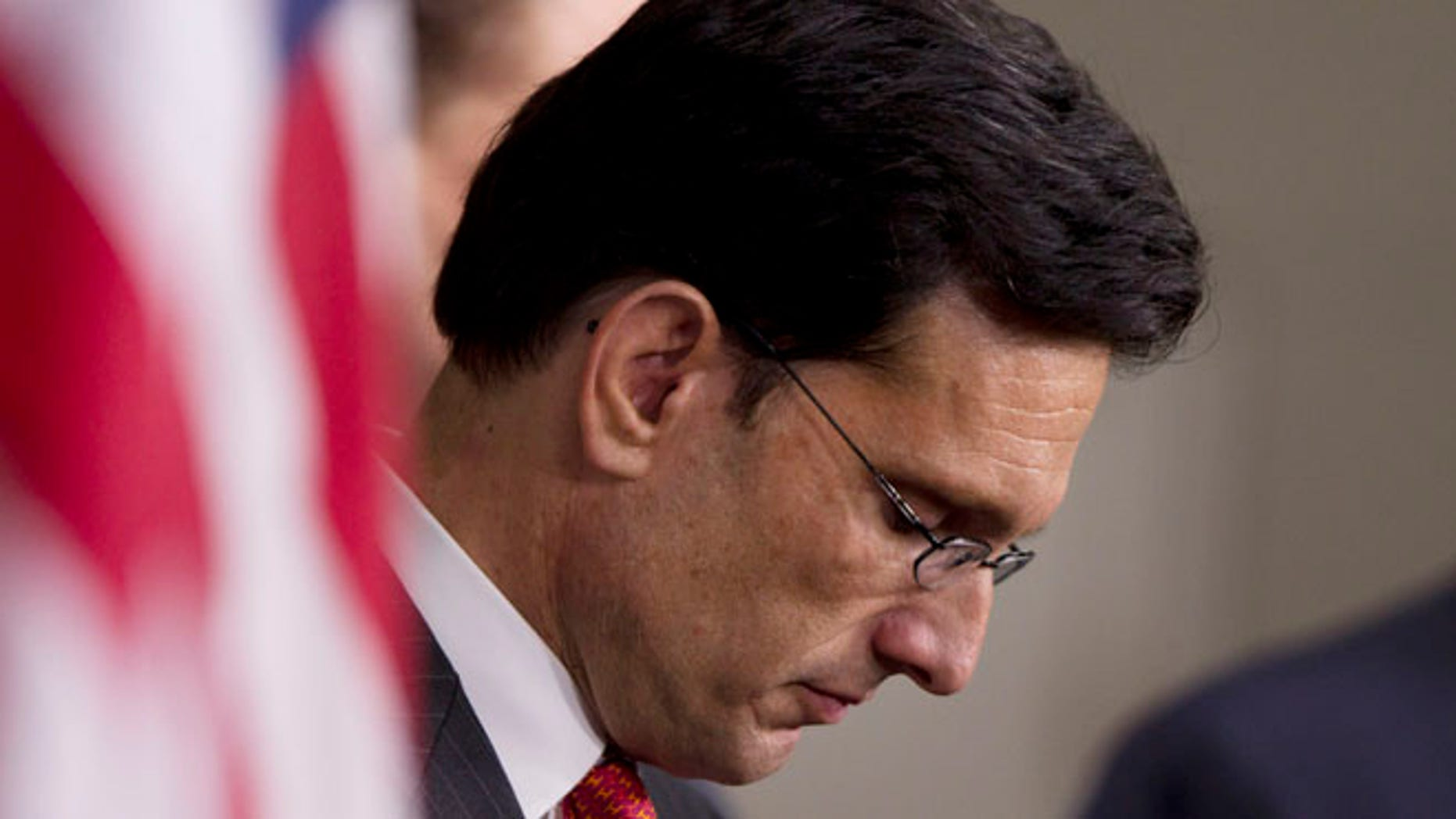 Dec 2011: House Majority Leader Rep. Eric Cantor, R-Va., pauses during a news conference on the payroll tax cut on Capitol Hill. (AP)