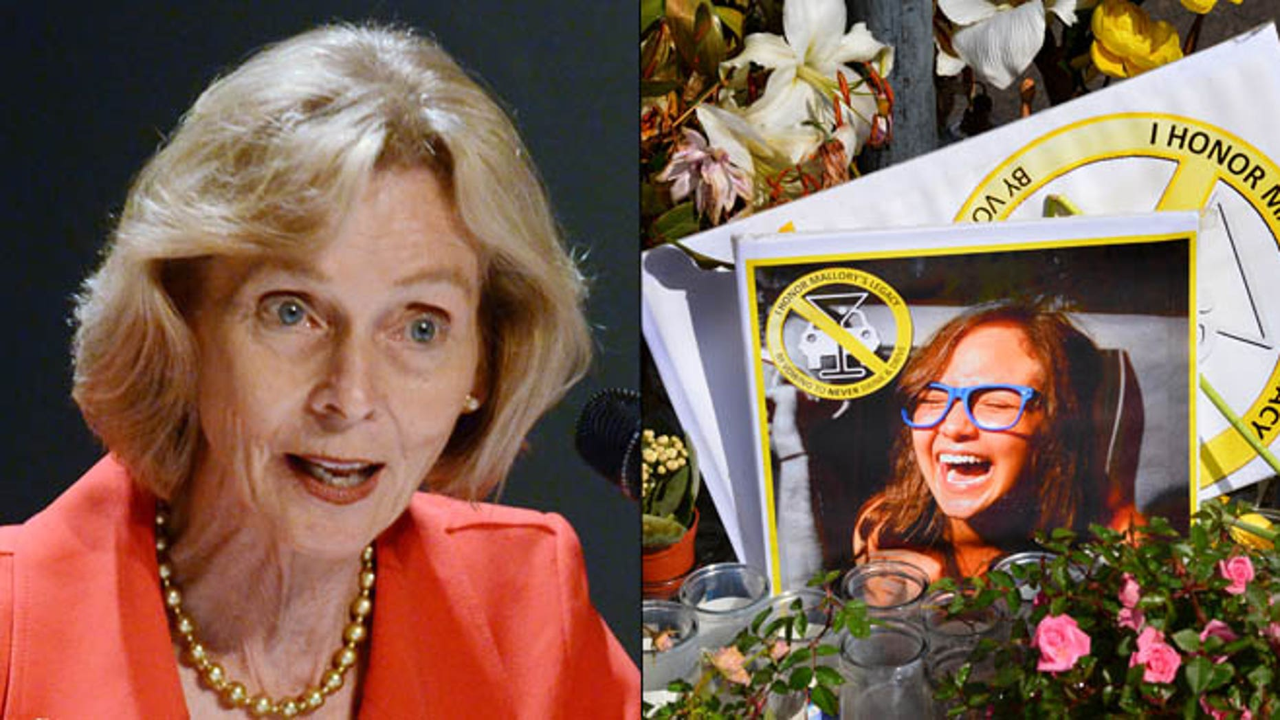 Shown here are Rep. Lois Capps, left, and a memorial for crash victim  Mallory Dies.