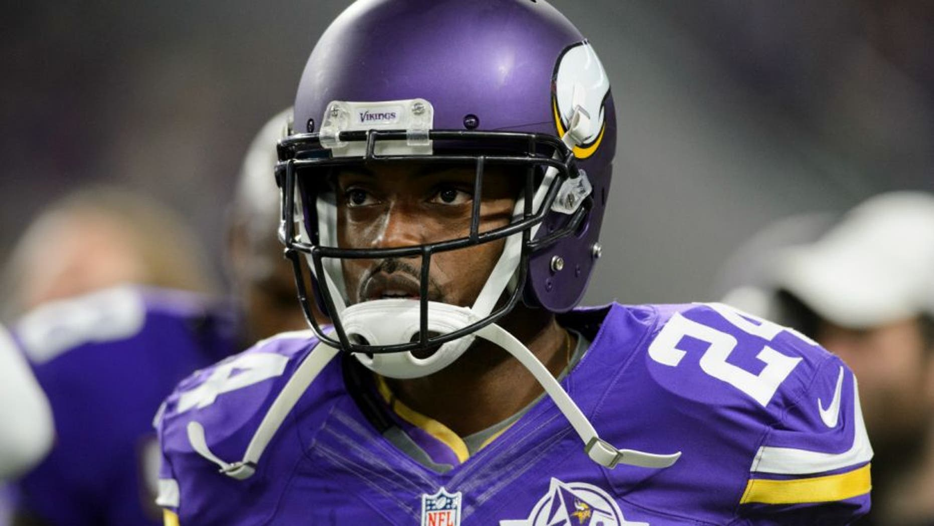 MINNEAPOLIS, MN - SEPTEMBER 18: Captain Munnerlyn #24 of the Minnesota Vikings looks on before the game against the Green Bay Packers on September 18, 2016 at US Bank Stadium in Minneapolis, Minnesota. The Vikings defeated the Packers 17-14. (Photo by Hannah Foslien/Getty Images)