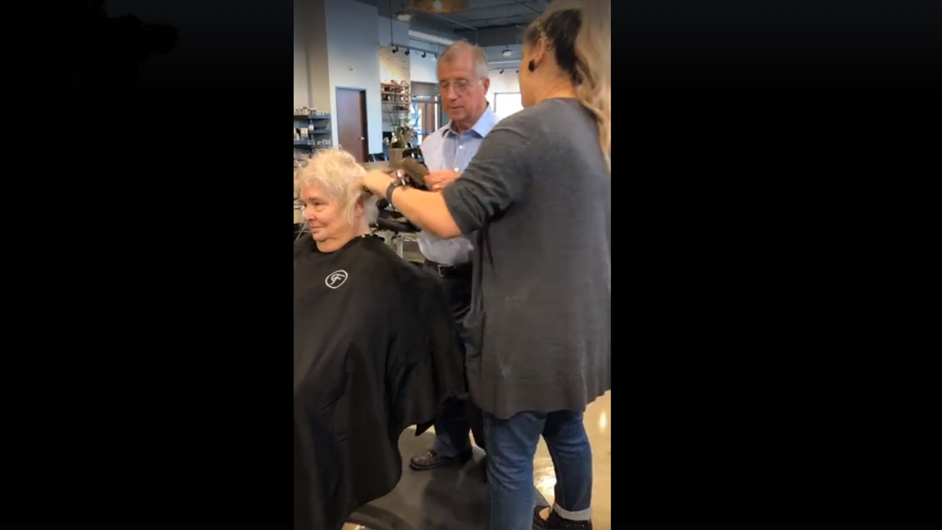 An elderly man in Texas learned how to style his wife's hair after she was unable to do so herself.