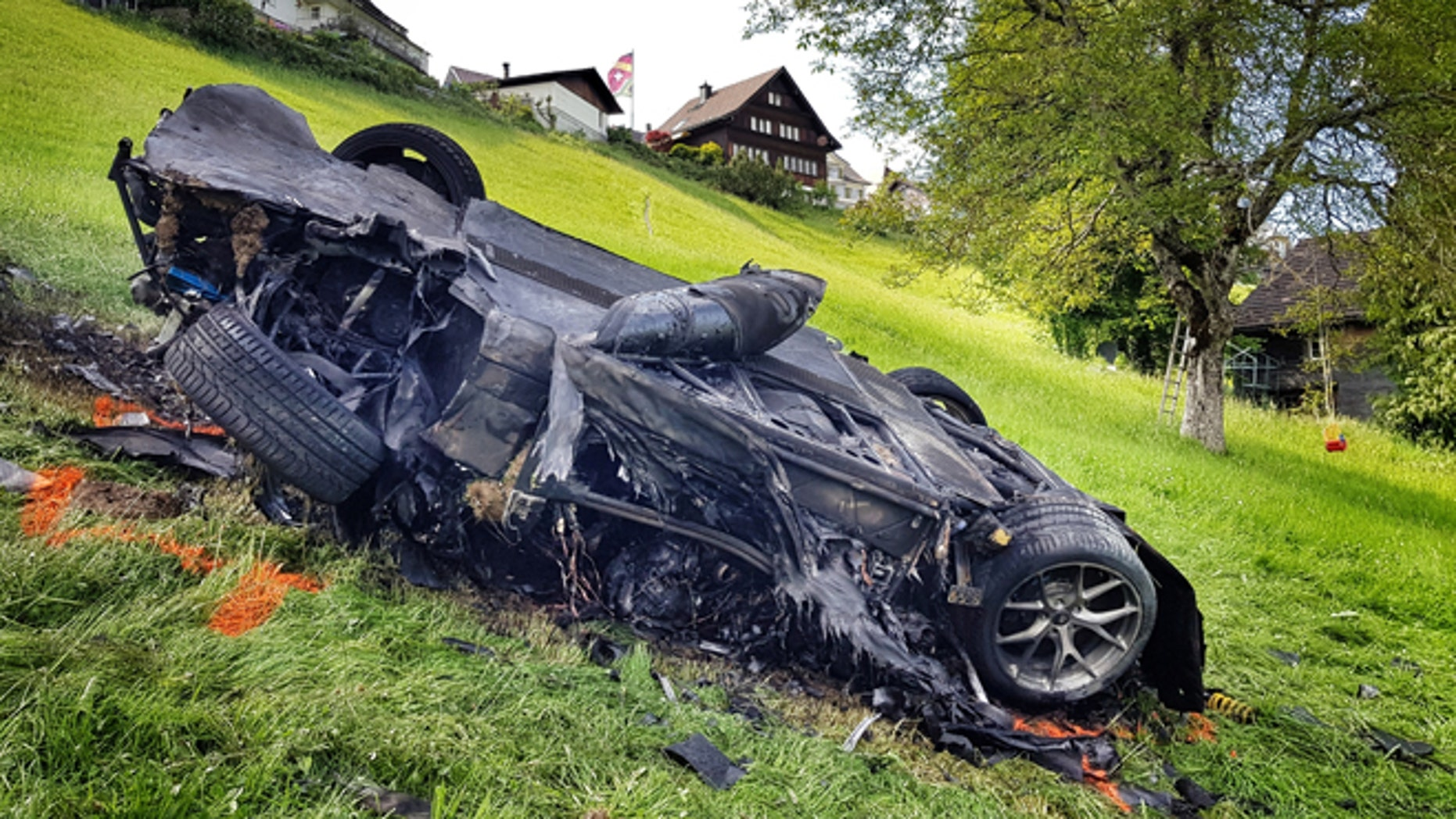 The car that was involved in a crash where Richard Hammond escaped serious injury in Switzerland.