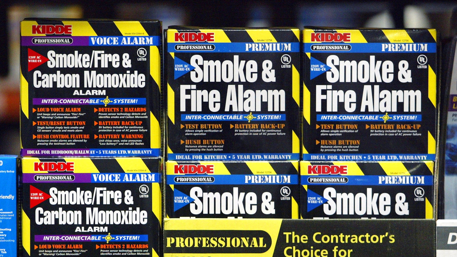 MOUNT PROSPECT, IL - FEBRUARY 19: Smoke, Fire & Carbon Monoxide alarms are displayed in a Home Depot store February 19, 2004 in Mount Prospect, Illinois. United States Consumer Product Safety Commission reports that about 125 carbon-monoxide-related deaths occur each year.  (Photo by Tim Boyle/Getty Images)