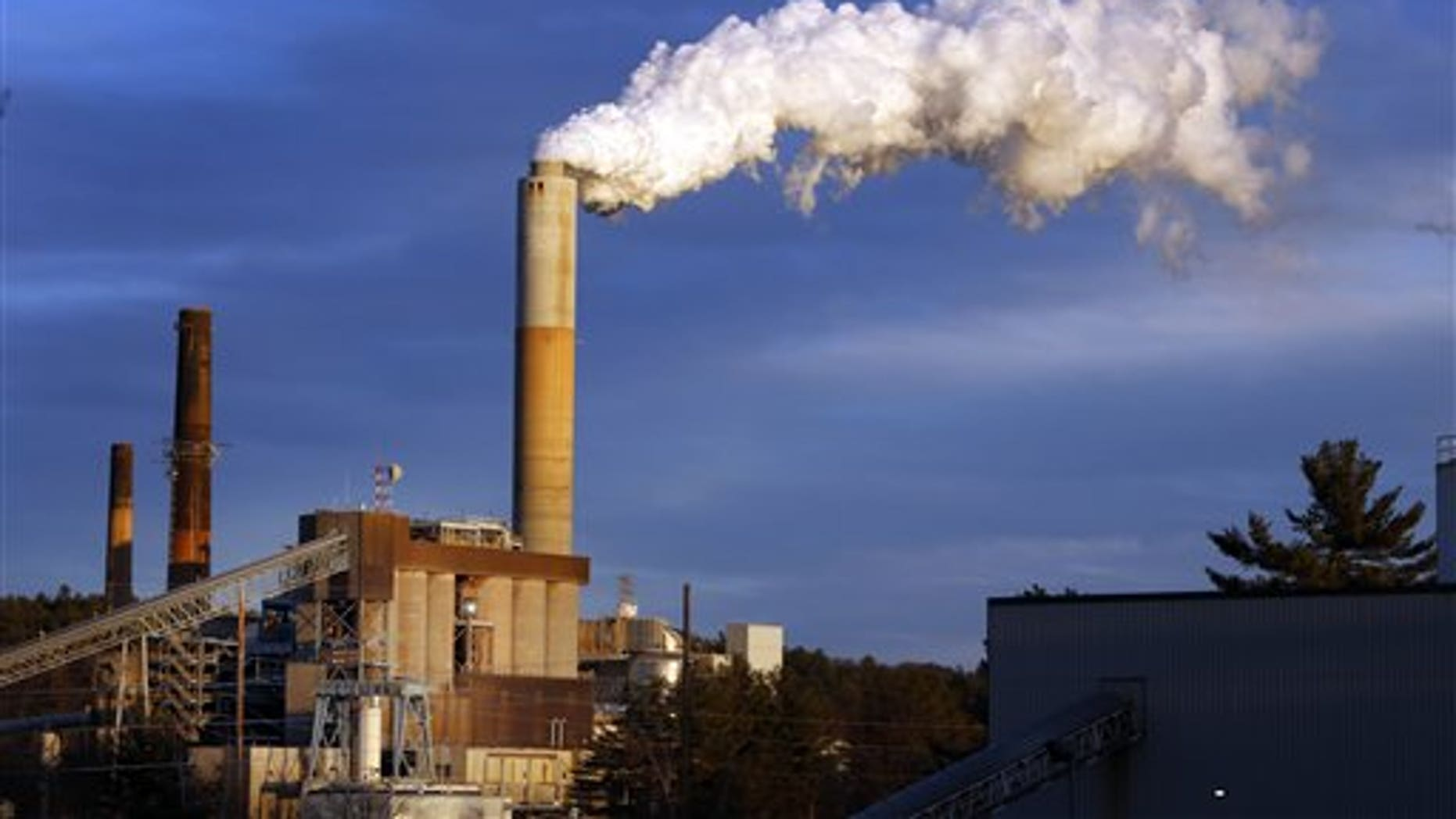 FILE - In this Tuesday Jan. 20, 2015 file photo, a plume of steam billows from the coal-fired Merrimack Station in Bow, N.H. (AP Photo/Jim Cole, File)