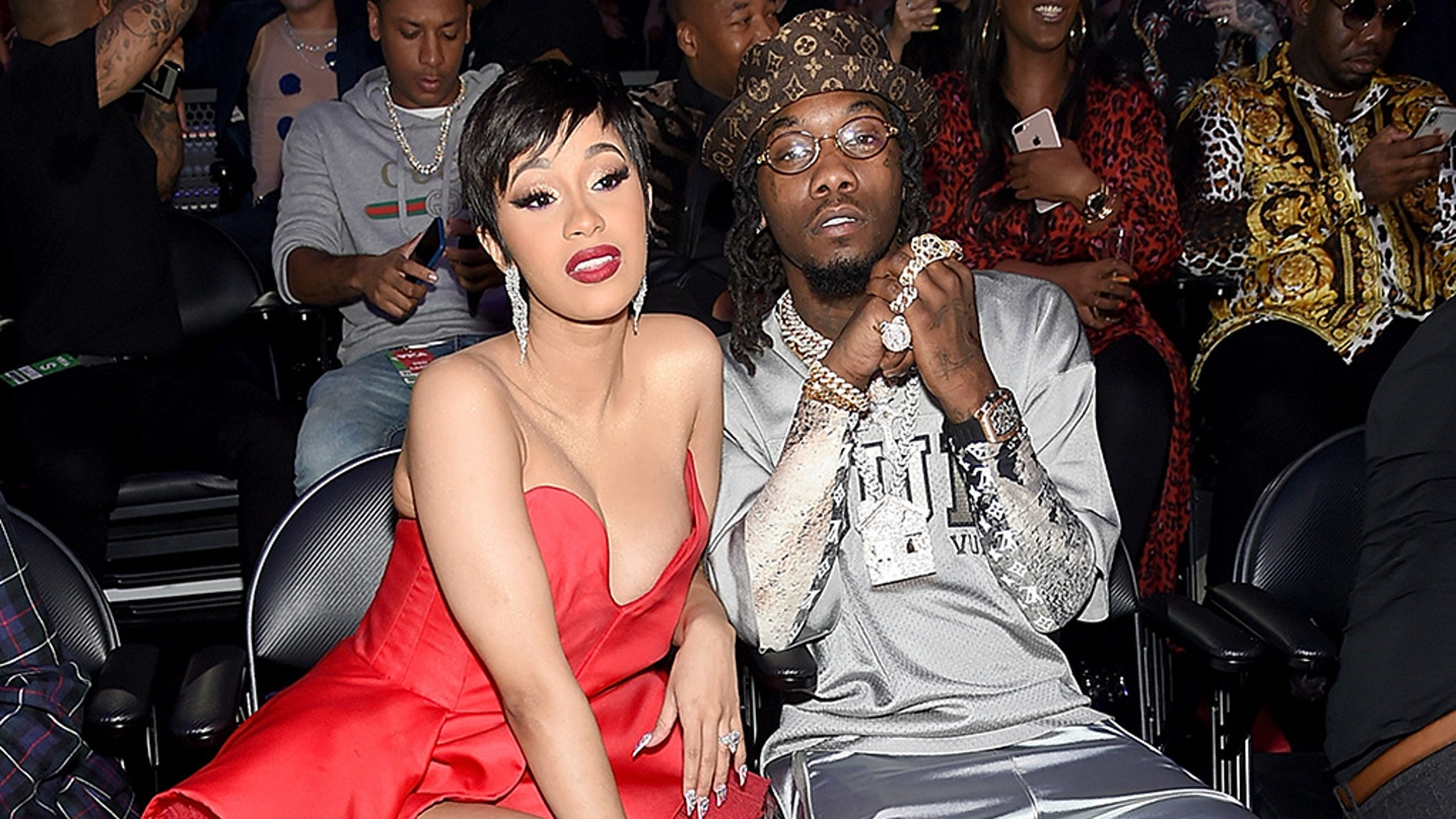 Rappers Cardi B and Offset at the 2018 MTV Video Music Awards.