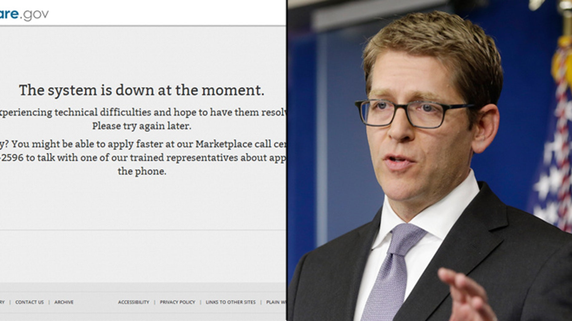 Shown at left is a screen from the HealthCare.gov website. At right, White House Press Secretary Jay Carney.