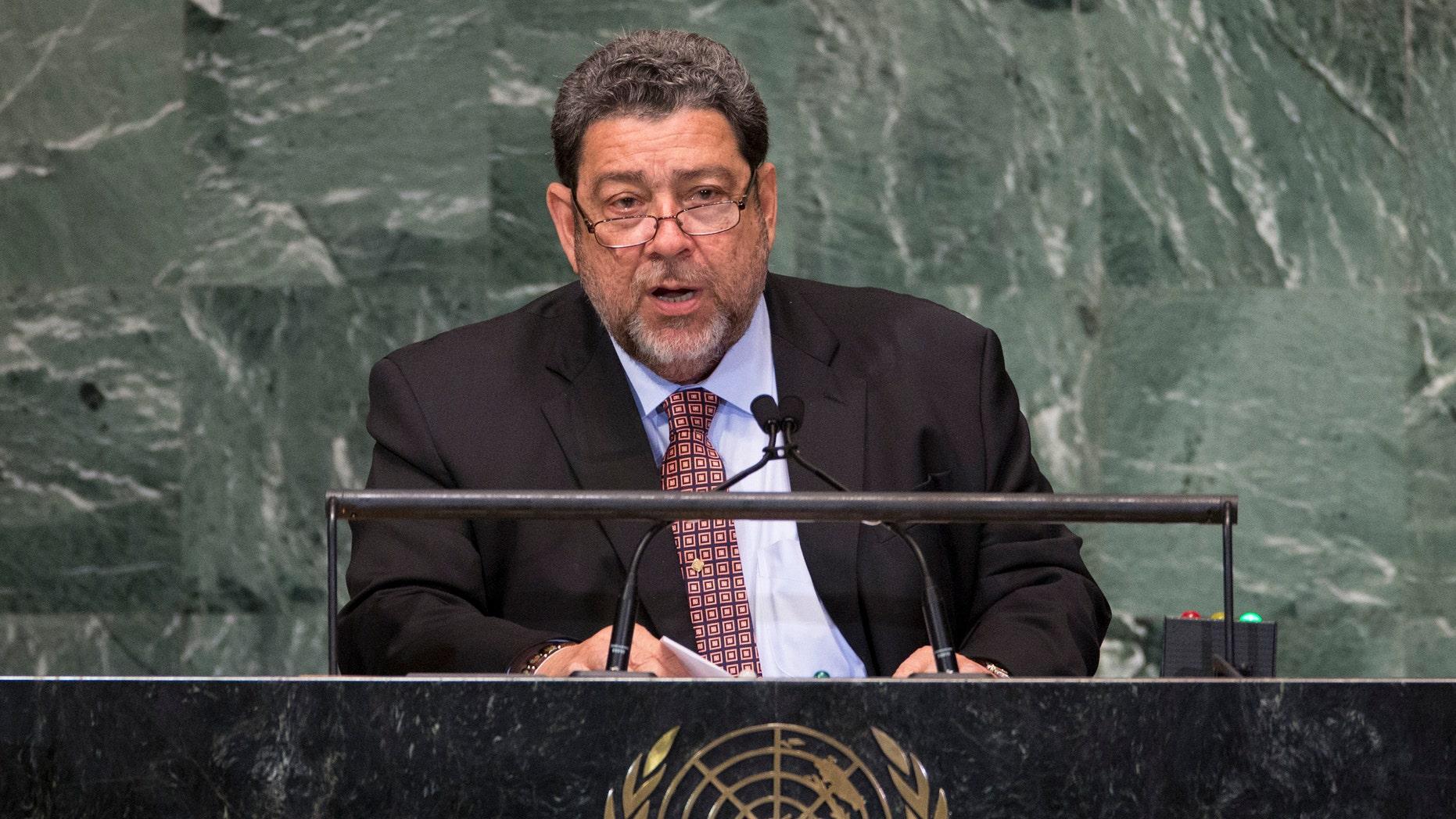 Saint Vincent and the Grenadines Prime Minister Ralph Gonsalves addresses the U.N. General Assembly.