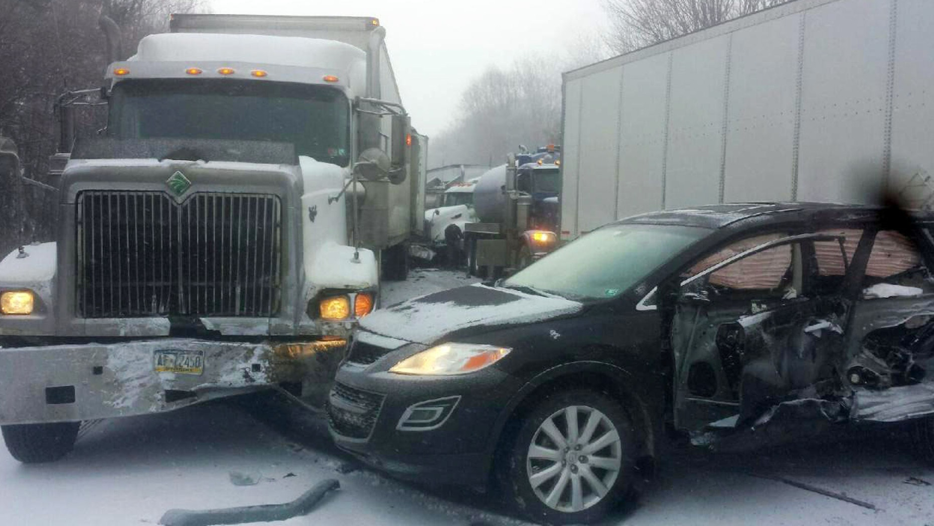Jan. 7, 2015: In this photo provided by exploreClarion.com/Bauer Truck Repair, vehicles remain at the scene of a fatal 18-vehicle pileup that occurred in whiteout conditions.