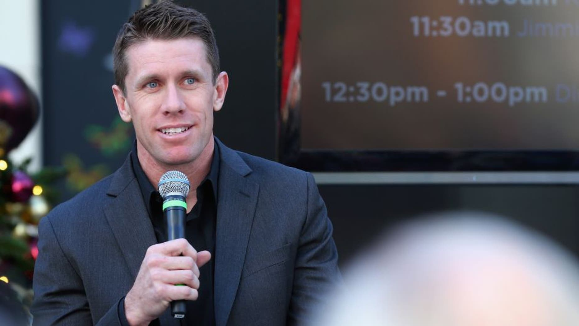 LAS VEGAS, NV - DECEMBER 02: NASCAR Sprint Cup Series driver Carl Edwards participates in a Q&A session on the main stage at The LINQ Hotel & Casino on December 2, 2015 in Las Vegas, Nevada. (Photo by Sarah Crabill/NASCAR via Getty Images)
