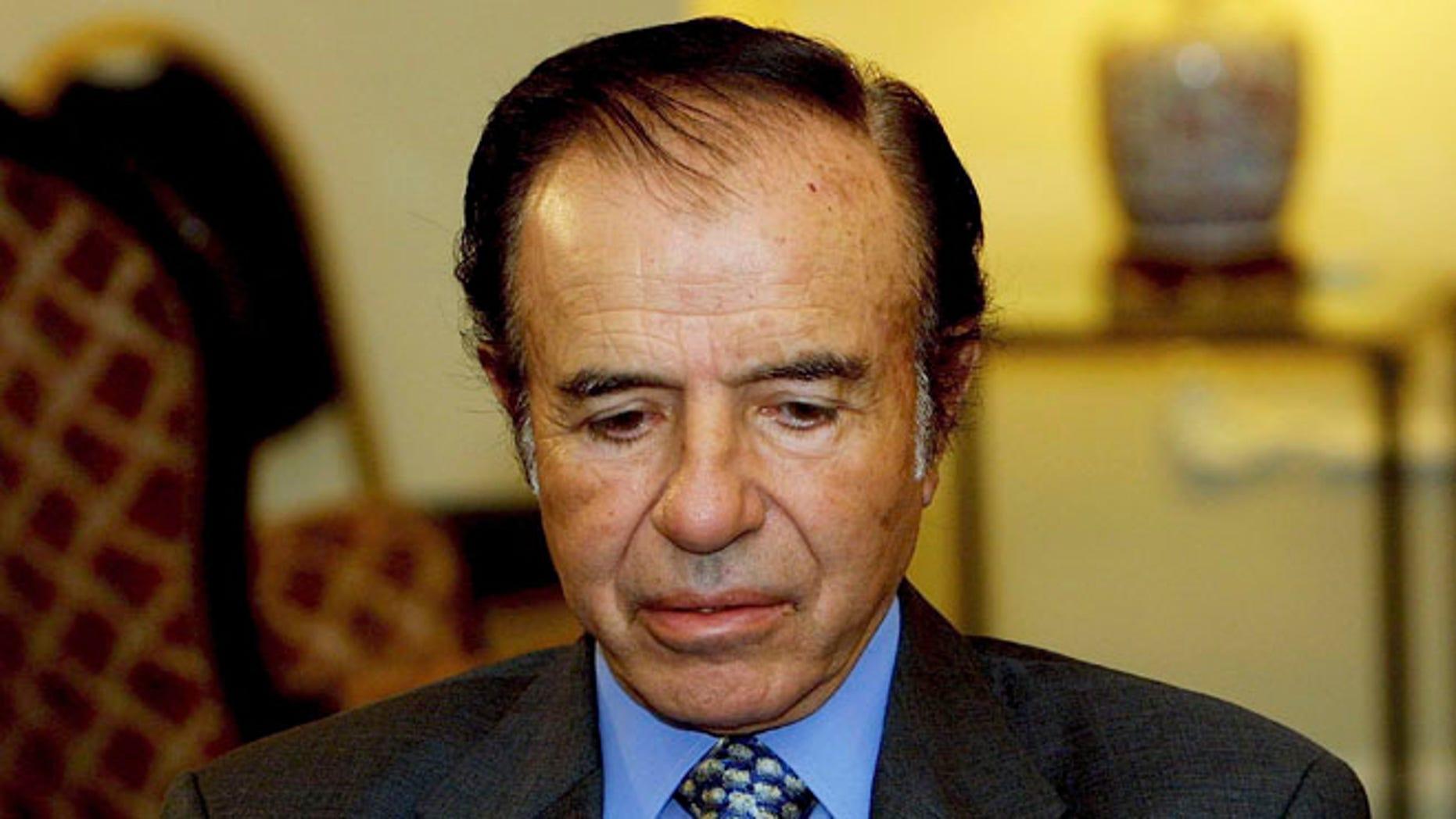Former Argentinian President Carlos Menem in a 2003 file photo.