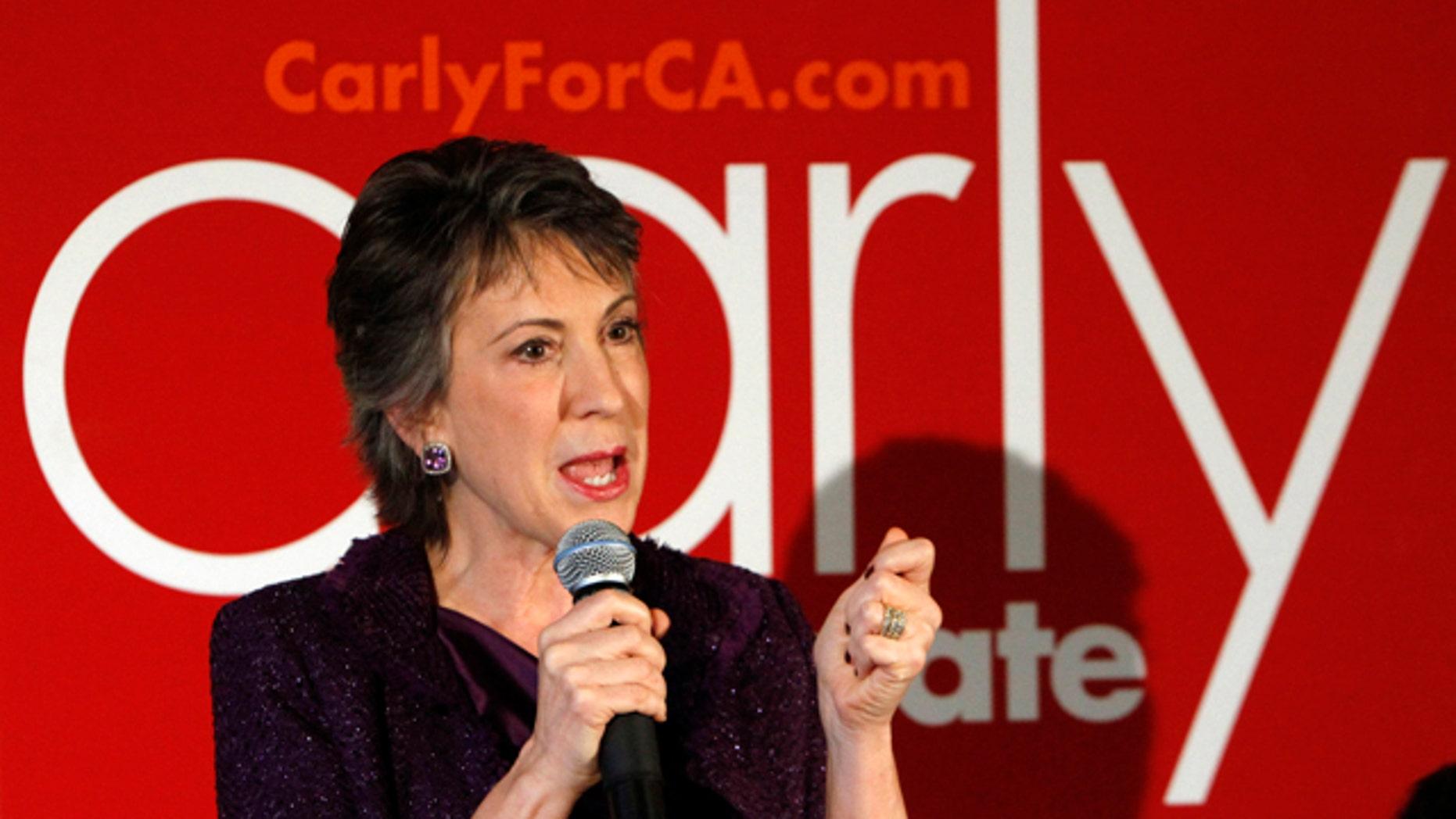 Oct. 19, 2010: Republican U.S. Senate candidate Carly Fiorina, speaks at a campaign stop in Sacramento, Calif. Fiorina is in a tight race against incumbent Democratic U.S. Senator Barbara Boxer.