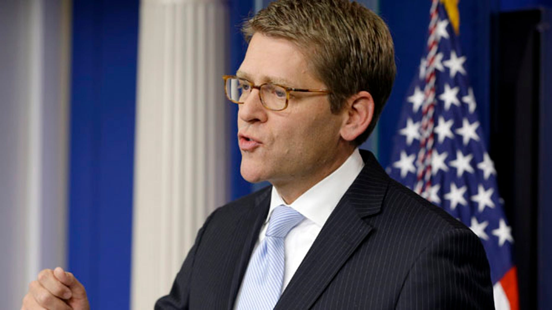 Nov. 9, 2012: White House Press Secretary Jay Carney gestures as he speaks to reporters in the White House briefing room.