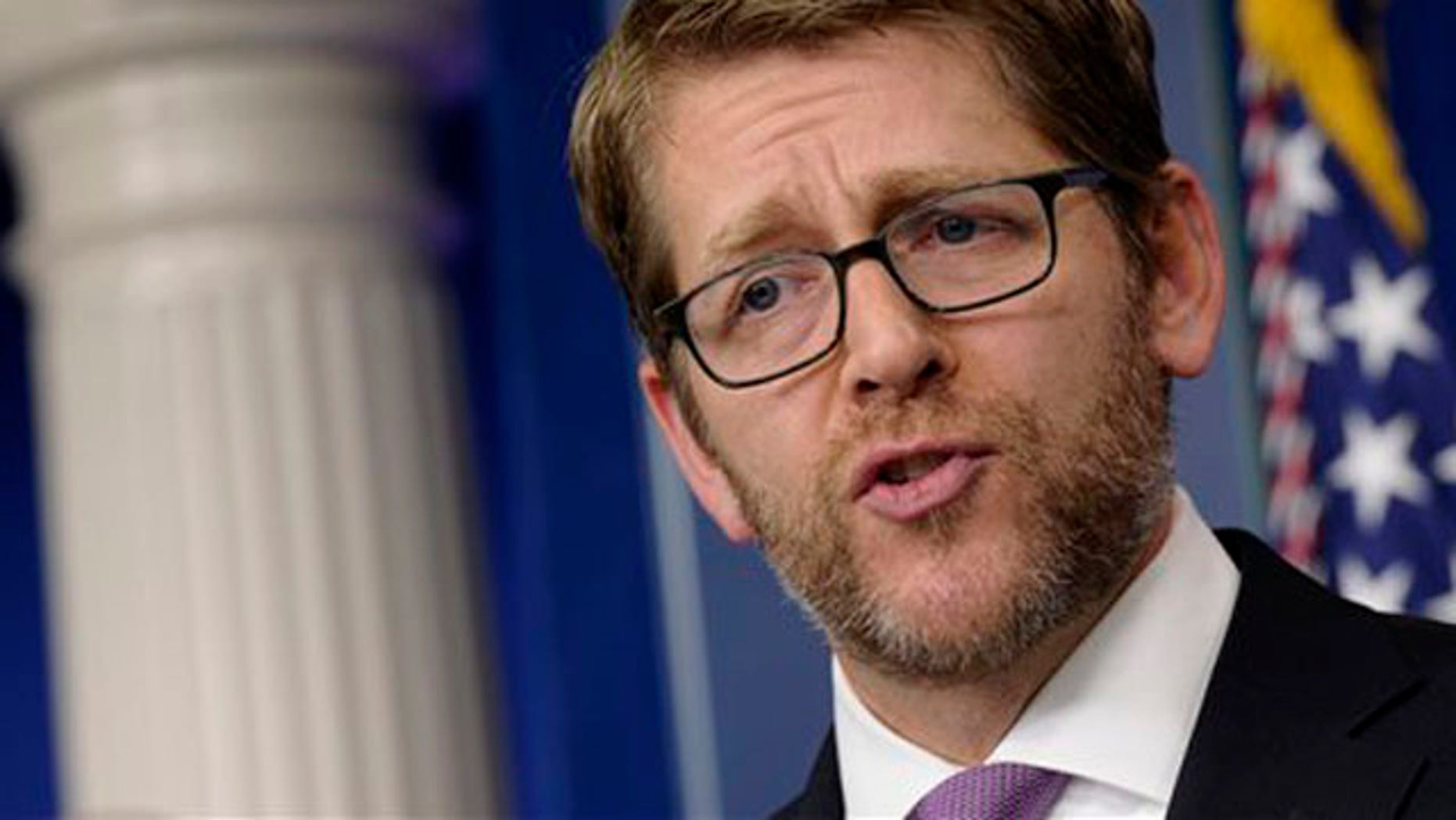 Jan. 6, 2014: White House press secretary Jay Carney speaks during the daily briefing at the White House in Washington.