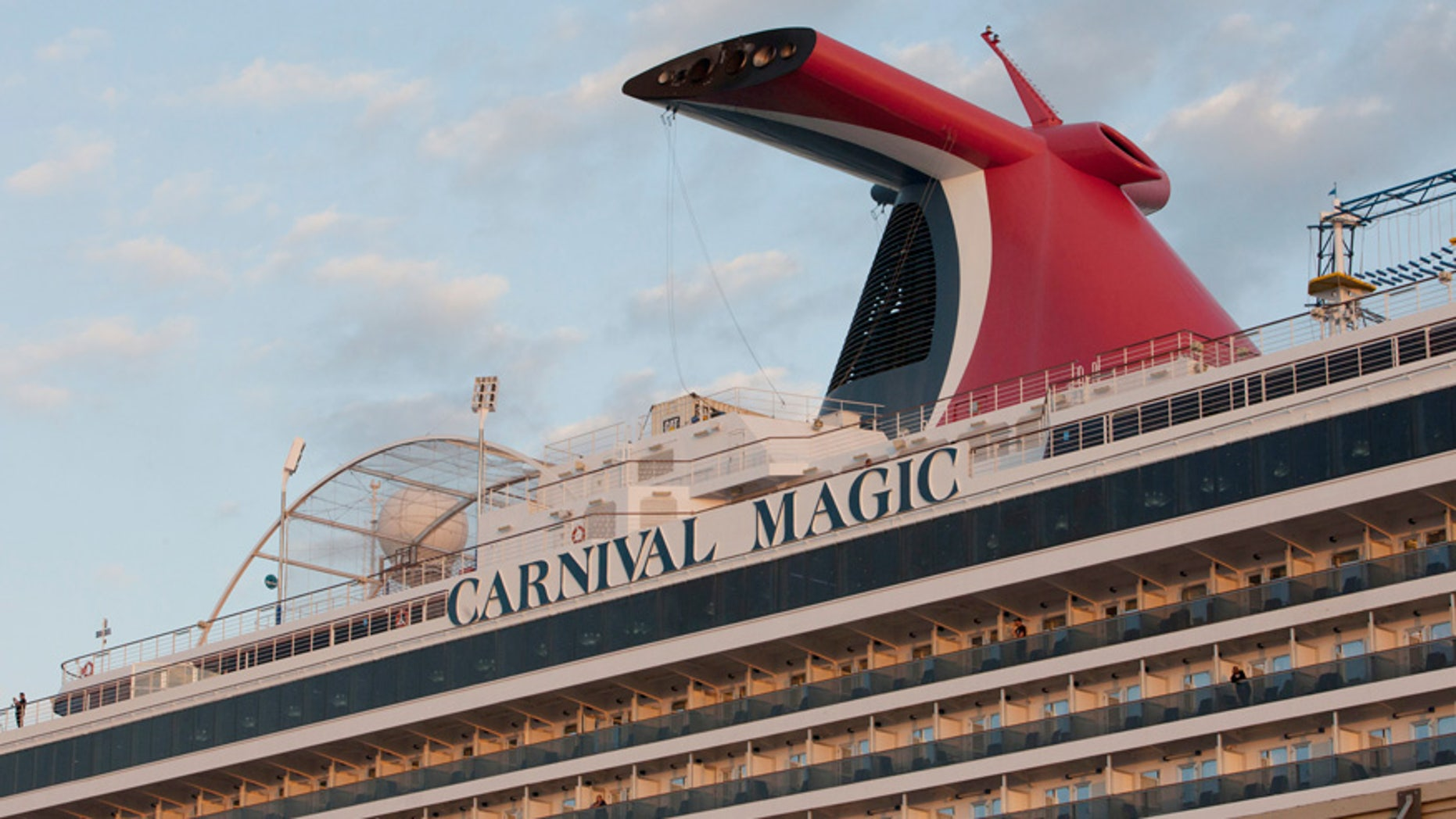 The Carnival Magic cruise ship is seen reaching port in Galveston, Texas, in 2014.