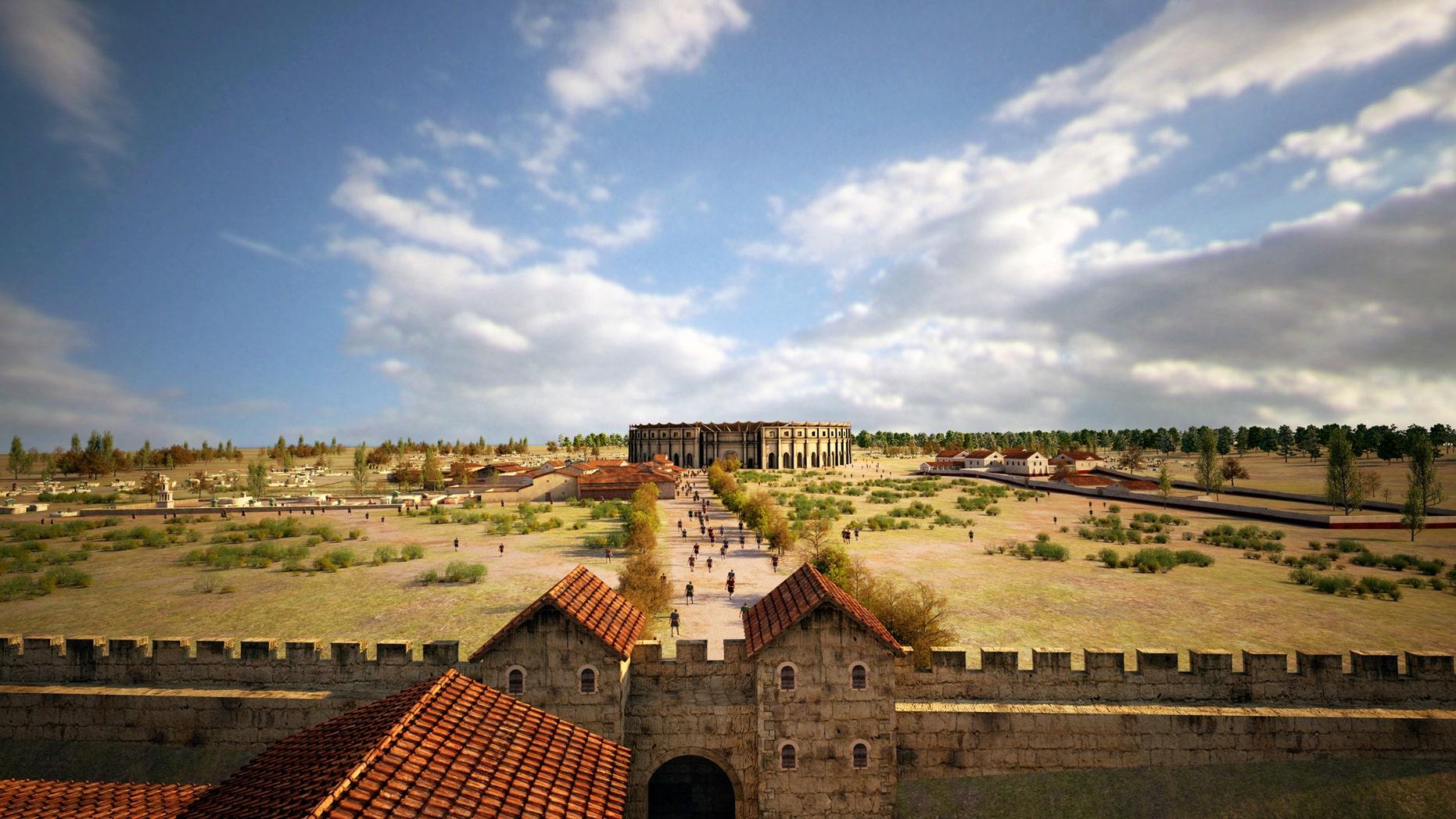 A visualization of Carnuntum's taverns, amphitheater and gladiator school (LBI ArchPro, 7reasons).