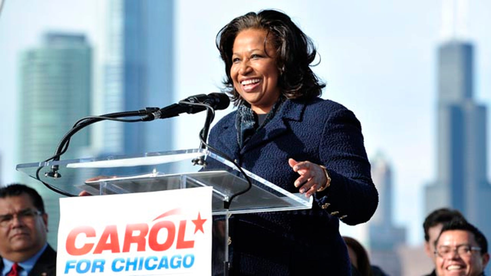 Nov. 20: Former U.S. Sen. Carol Moseley Braun shown here in Chicago as she formally announces her candidacy for Chicago mayor. Braun joins a crowded field of candidates including former White House chief of staff Rahm Emanuel.