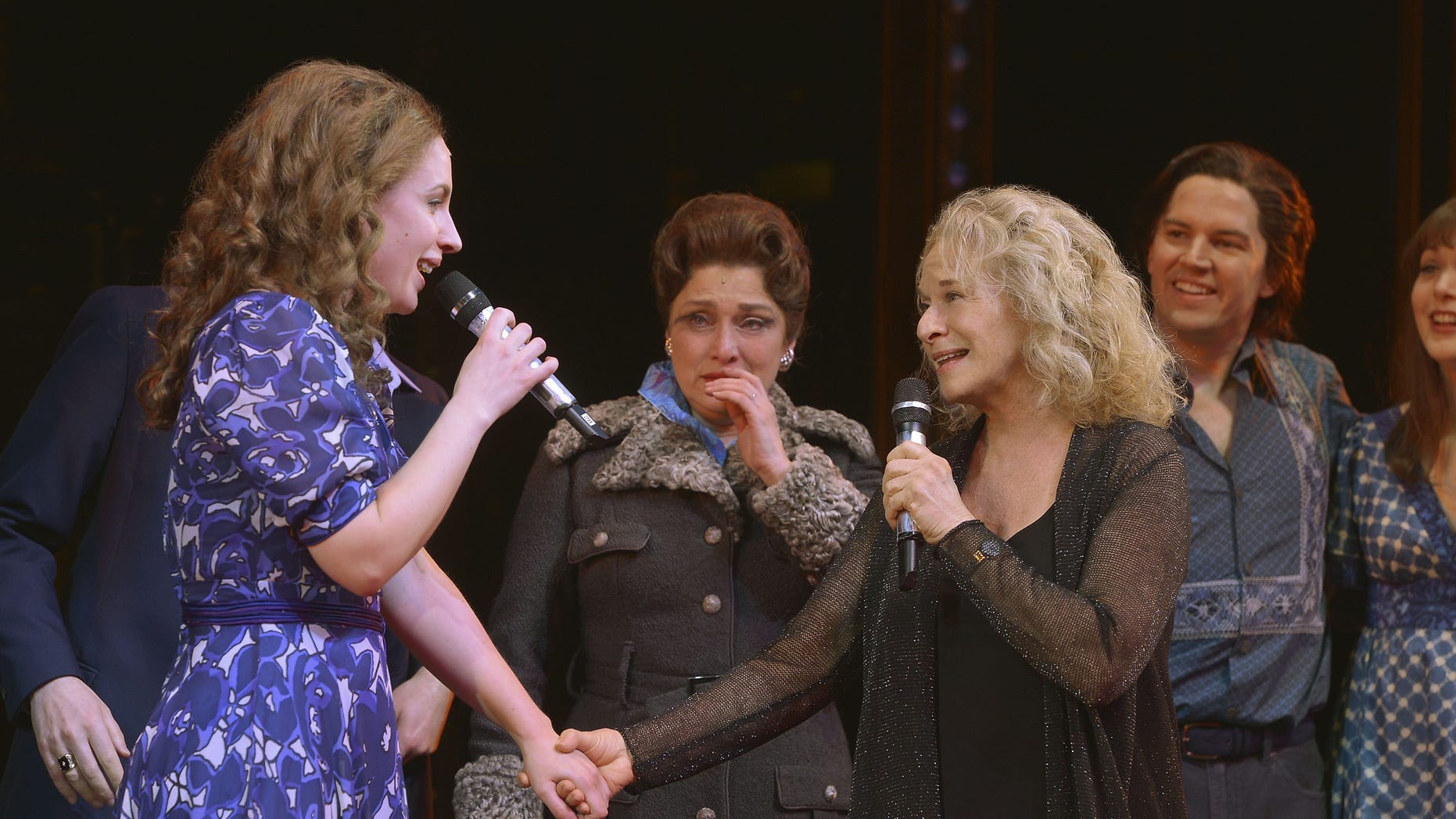 """April 3, 2014. Jessie Mueller and Carole King at curtain call for musical """"Beautiful."""""""