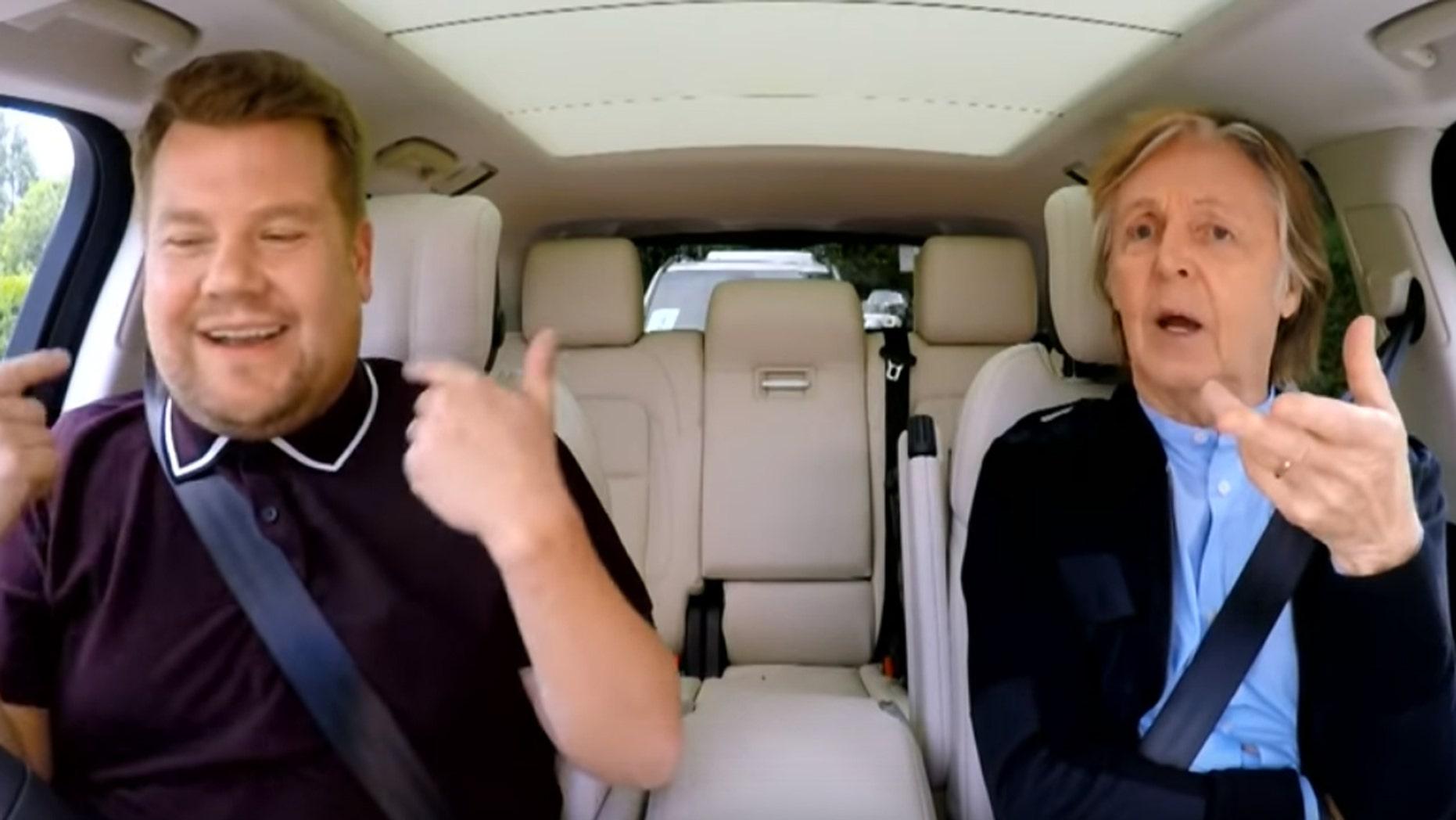 "James Corden, left, and Paul McCartney on ""Carpool Karaoke."""
