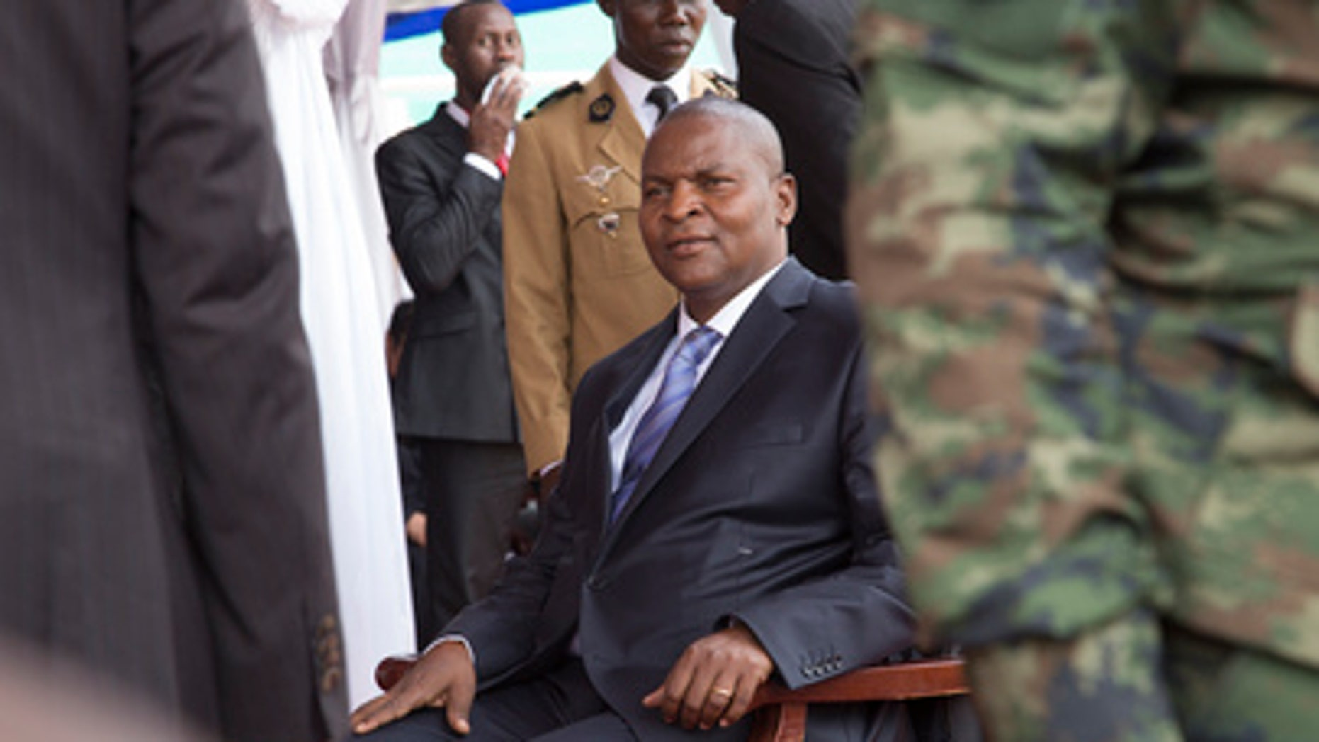 President-elect Faustin Archange Touadera of the Central African Republic (CAR) took the oath of office in Bangui on March 30, 2016.  (UN Photo/Nektarios Markogianni)s