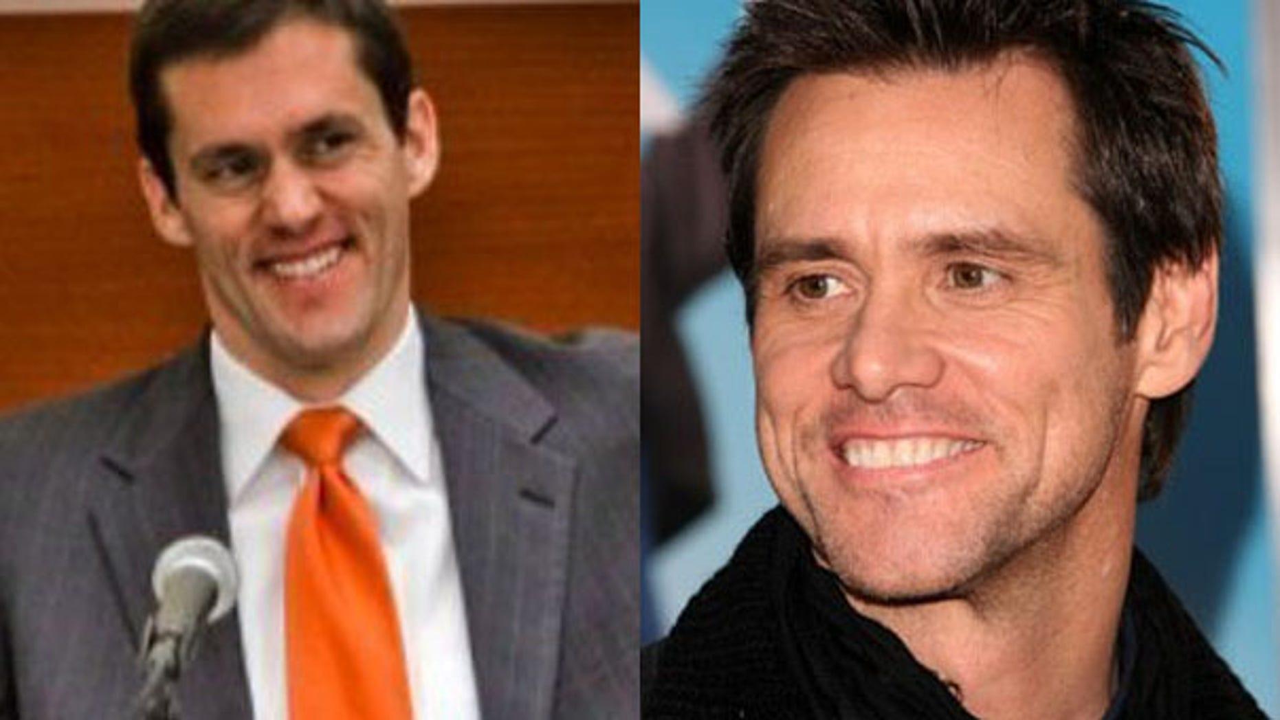 West Virginia Senator-designate Carte Goodwin, left, and actor-comedian Jim Carrey bear an uncanny resemblance.