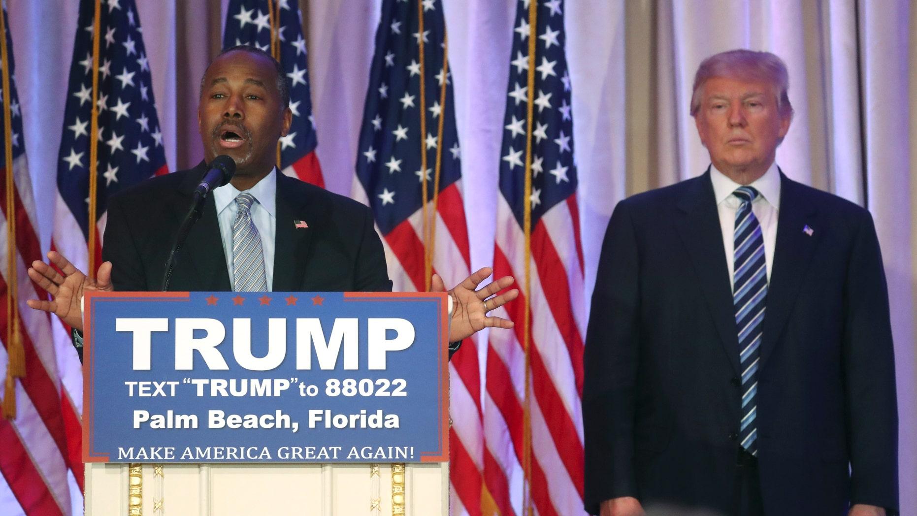 March 11, 2016: Former Republican U.S. presidential candidate Ben Carson endorses Donald Trump.