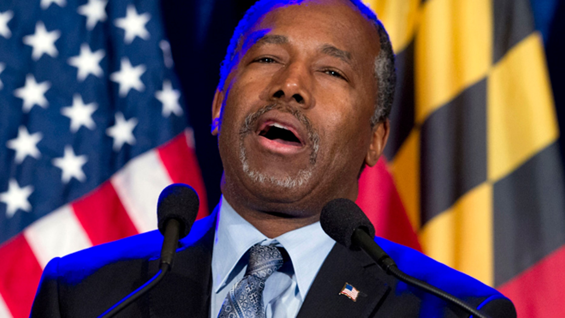 March 1, 2016: Ben Carson speaks during an election night party in Baltimore.