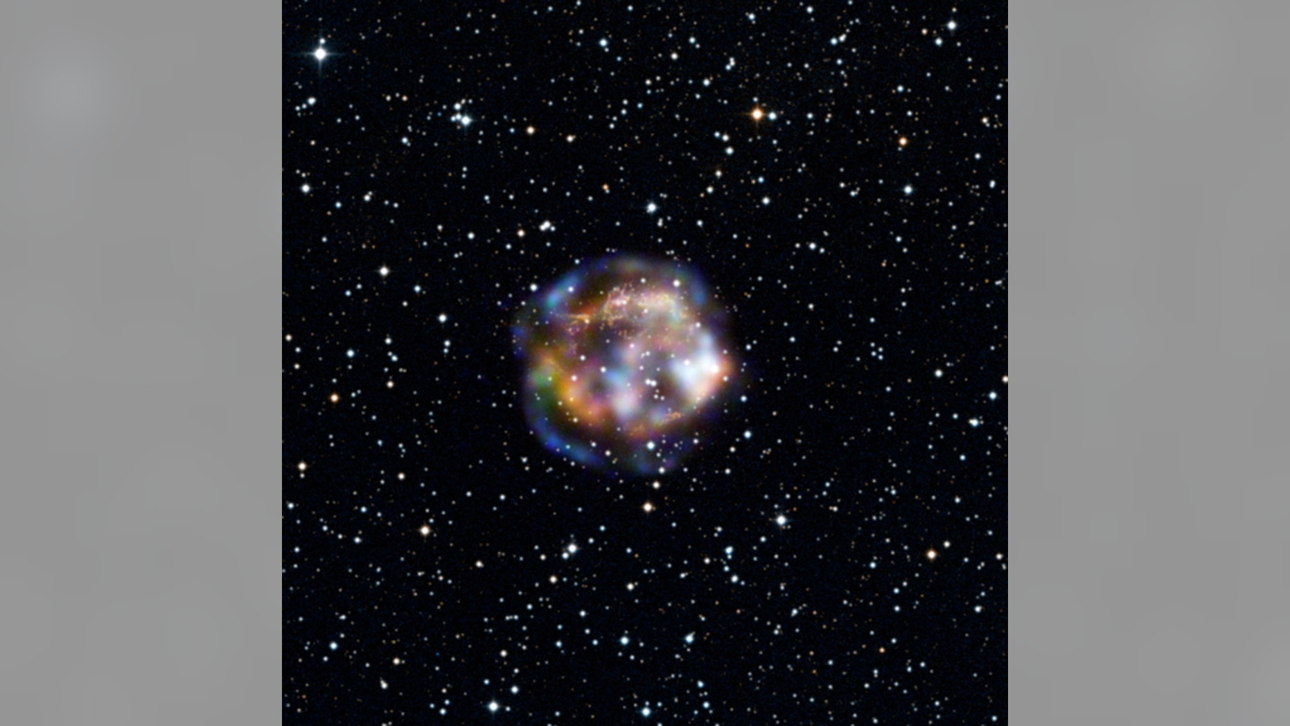 This new view of the historical supernova remnant Cassiopeia A, located 11,000 light-years away, was taken by NASA's Nuclear Spectroscopic Telescope Array, or NuSTAR. Image released Jan. 7, 2013.