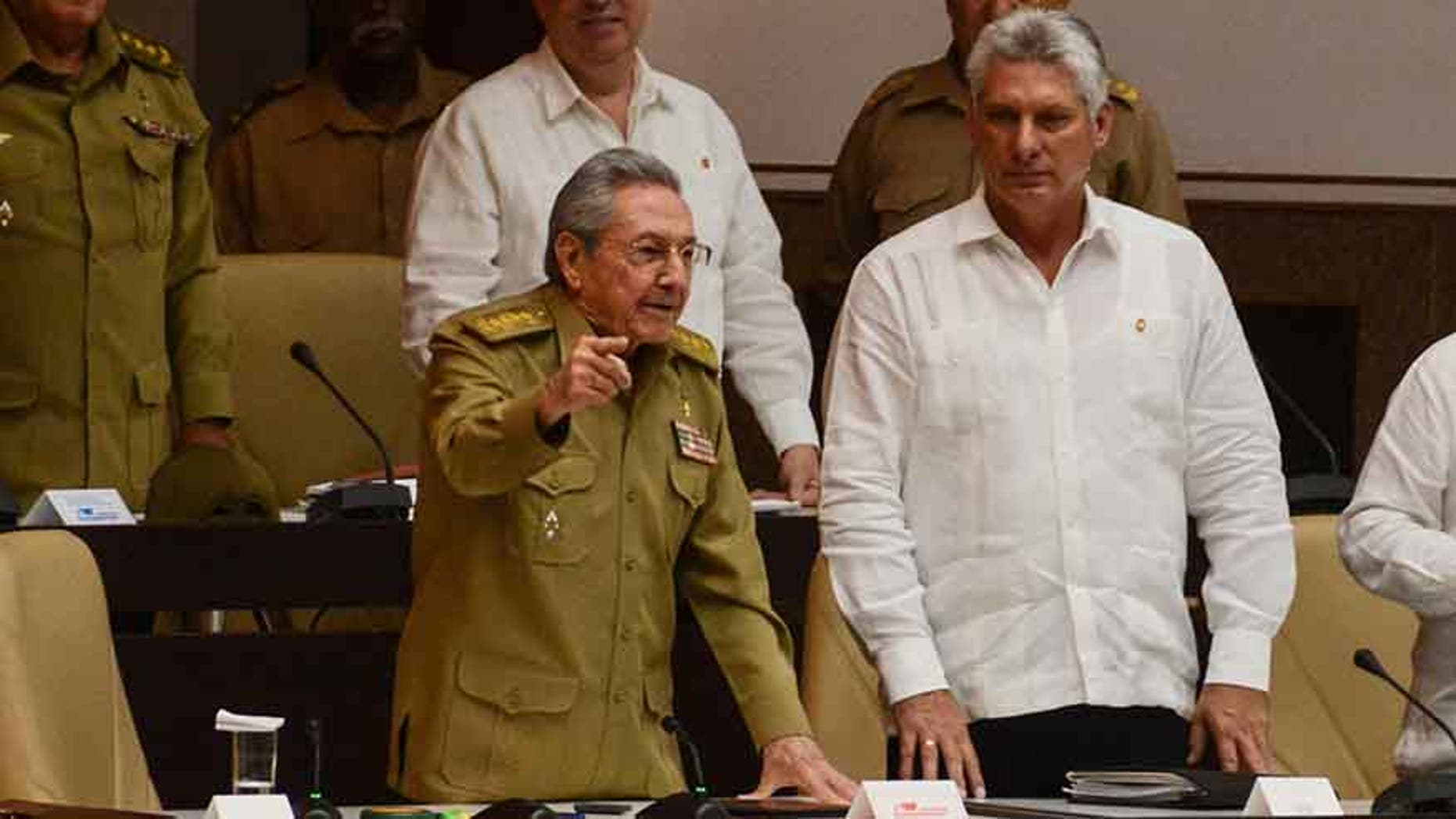 Cuba's President Raul Castro and First Vice-President Miguel Diaz-Canel during an extraordinary session of the National Assembly, in Havana, Cuba June 1, 2017.