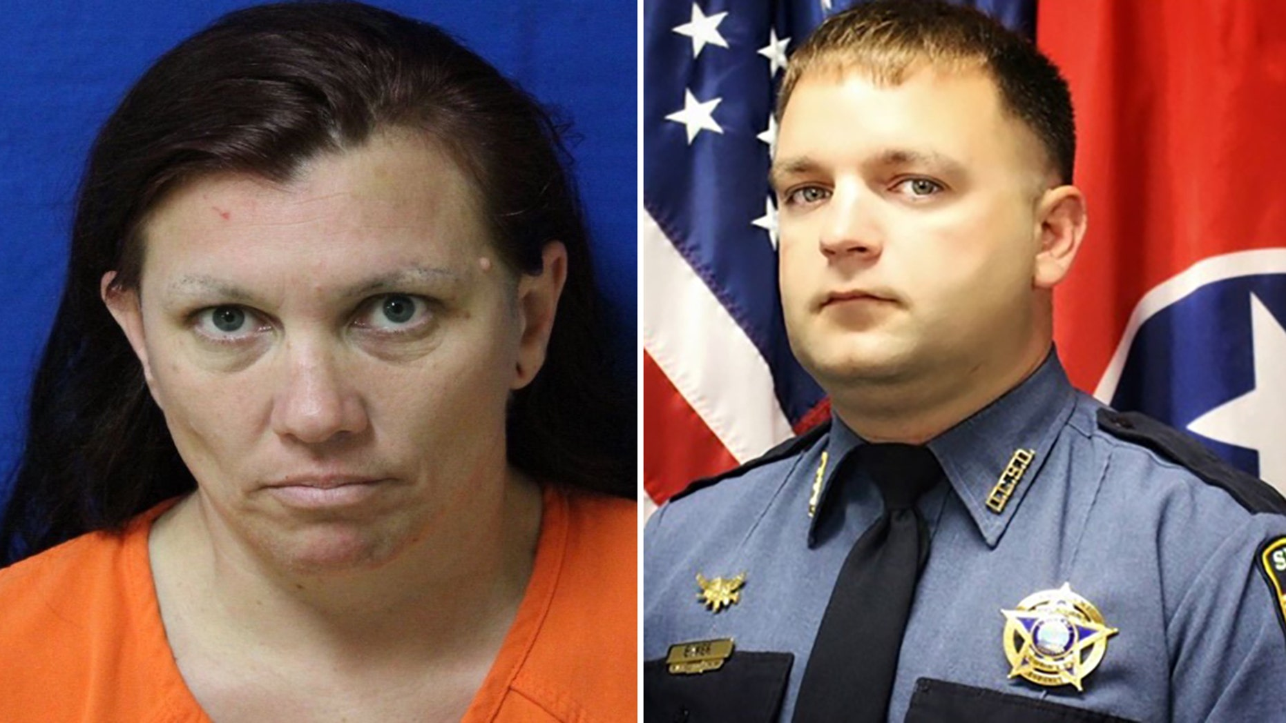 Erika Castro-Miles, 38, left, was charged in connection with the death of Tennessee sheriff's deputy Sgt. Daniel Baker, right, late Wednesday, officials said.
