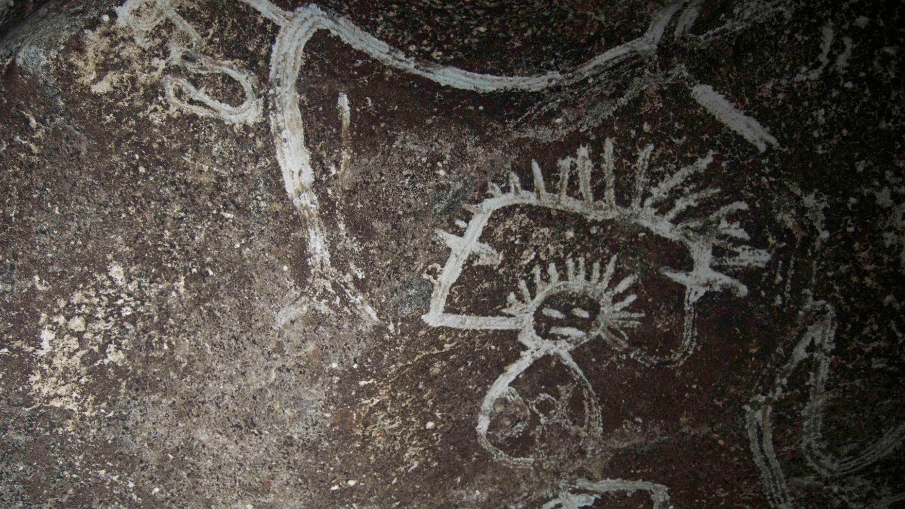 Indigenous rock art from Mona island. Note how the artist uses the contrast between the darker cave wall and the white design (Project El Corazon del Caribe)