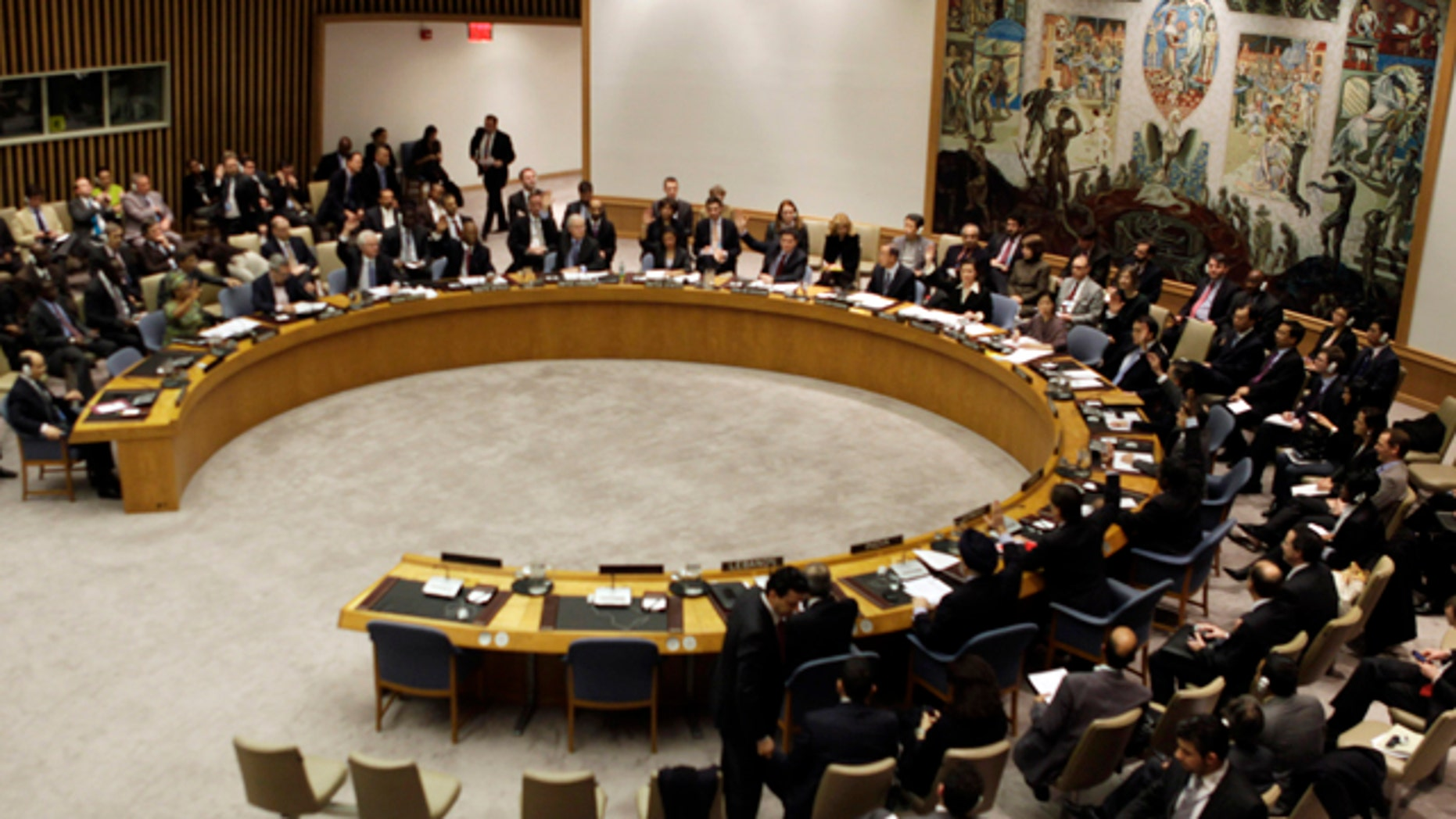 Feb. 26, 2011: United Nations Security Council votes on the peace and security in Africa at U. N. headquarters. The U.N. Security Council met urgently Saturday to consider new sanctions against Libya to halt a violent crackdown on anti-government protesters.
